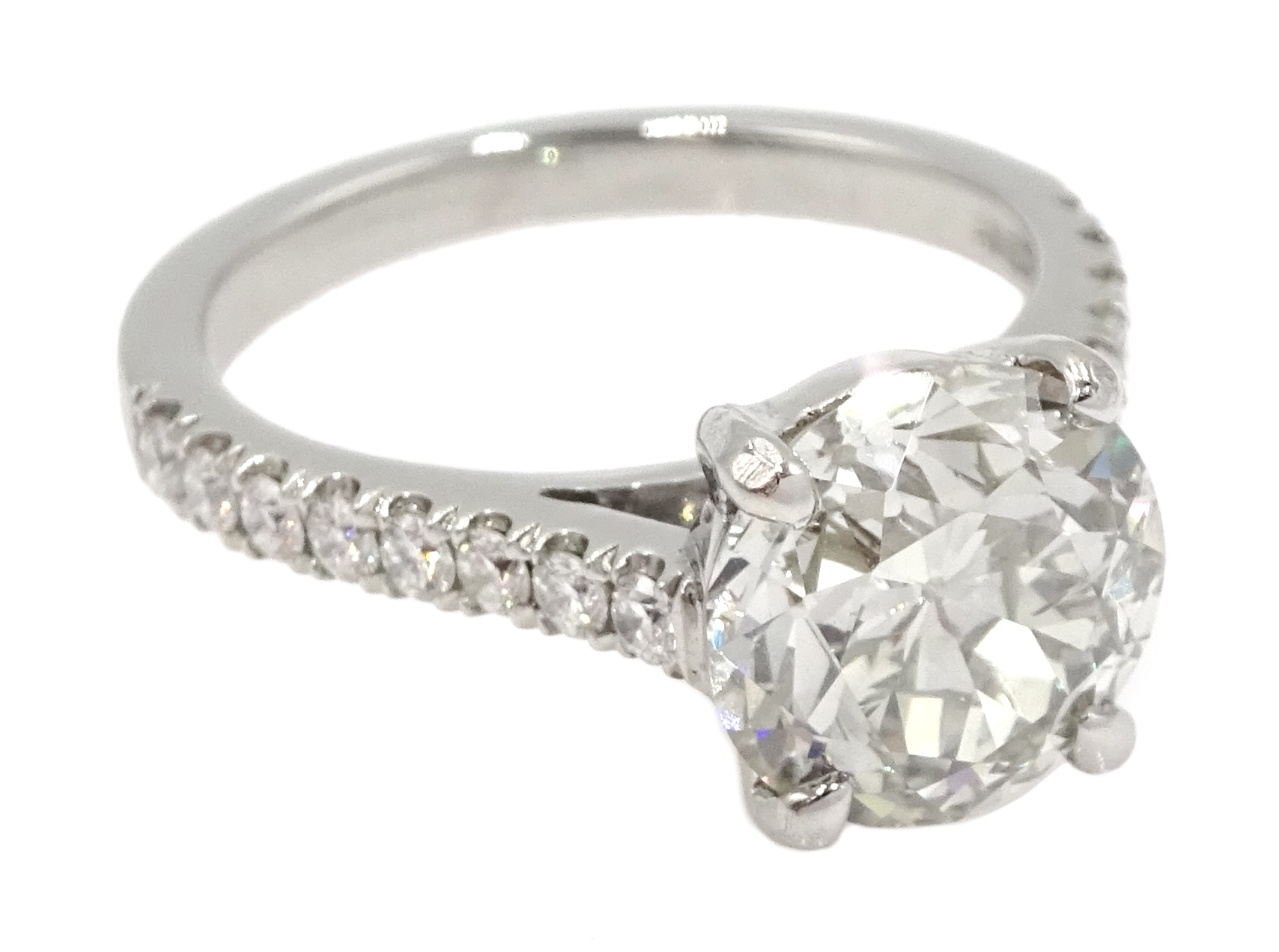 Platinum old cut diamond solitaire ring with diamond set shoulders, hallmarked, central diamond 2.10 - Image 3 of 9