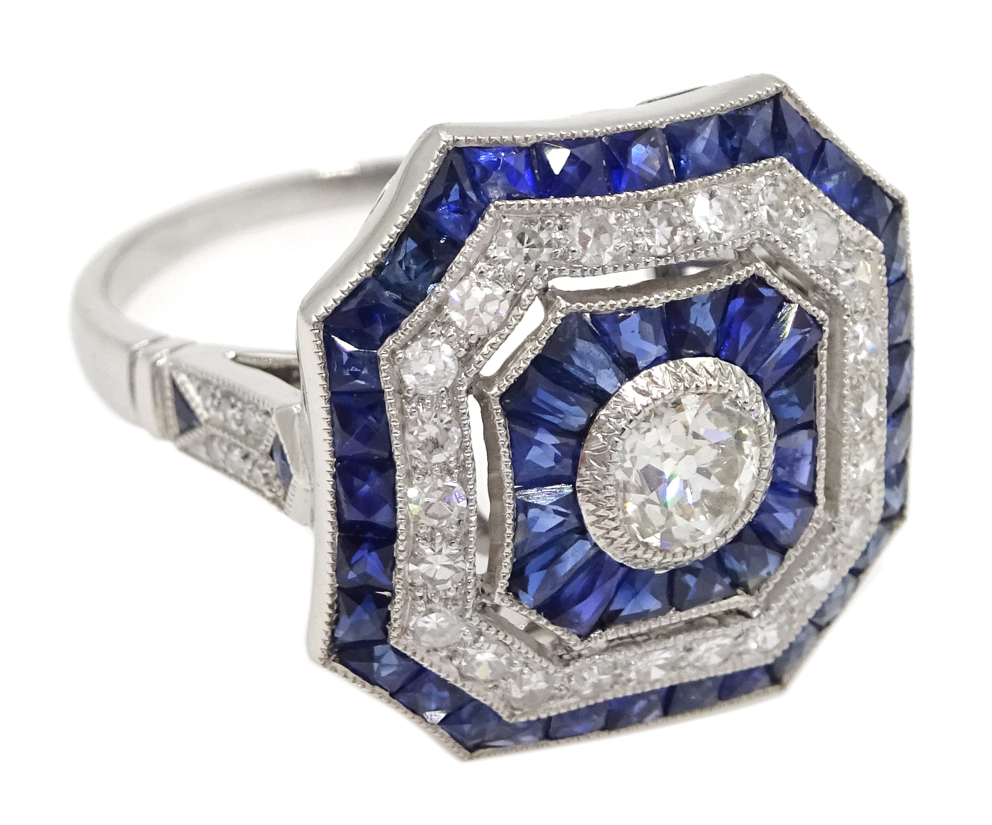 Large Victorian style platinum cluster ring, set with diamonds and sapphires, total weight of - Image 3 of 6