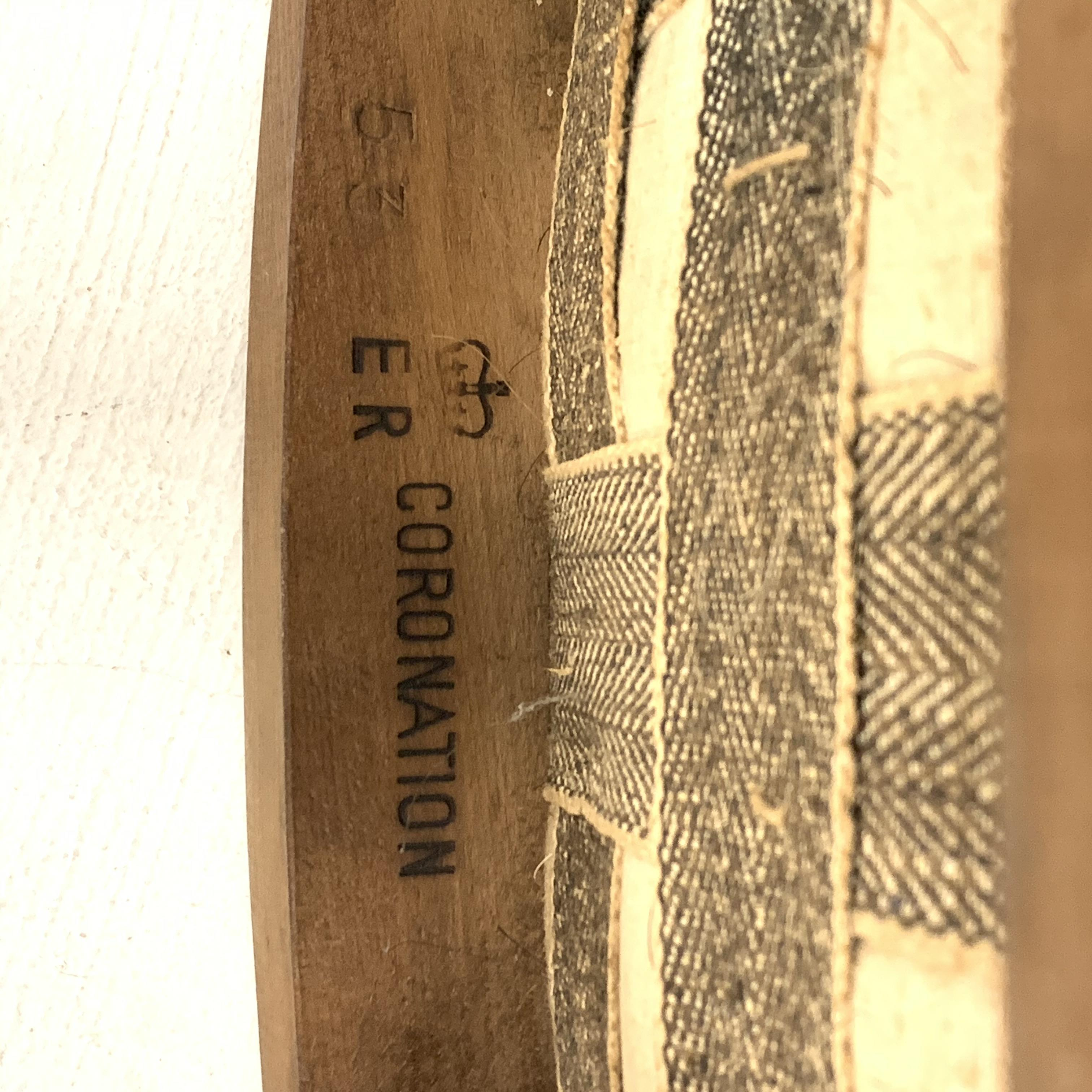Elizabeth II limed oak Coronation stool with upholstered seat, stamp to the interior seat rail, with - Image 3 of 4