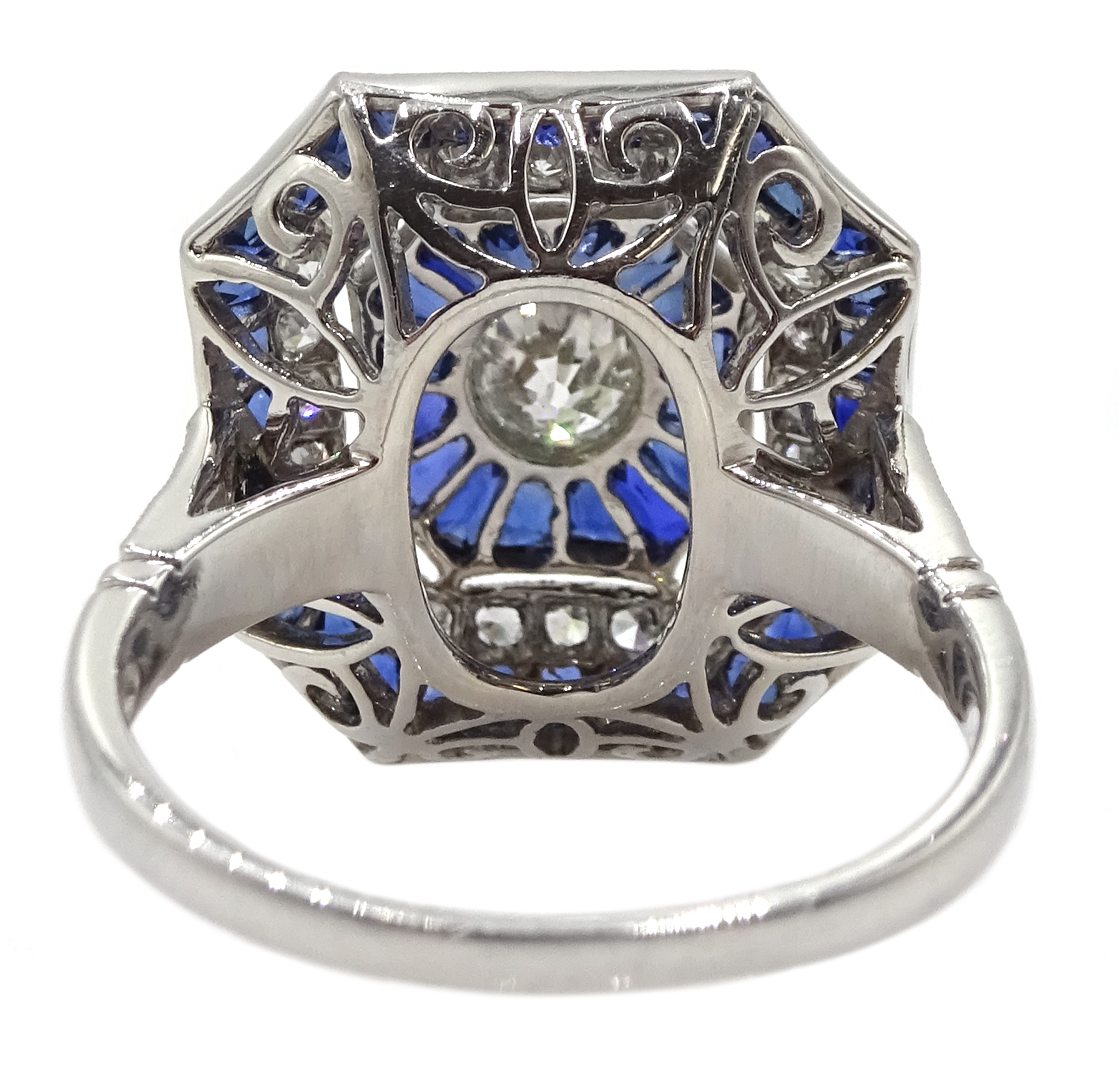 Large Victorian style platinum cluster ring, set with diamonds and sapphires, total weight of - Image 6 of 6