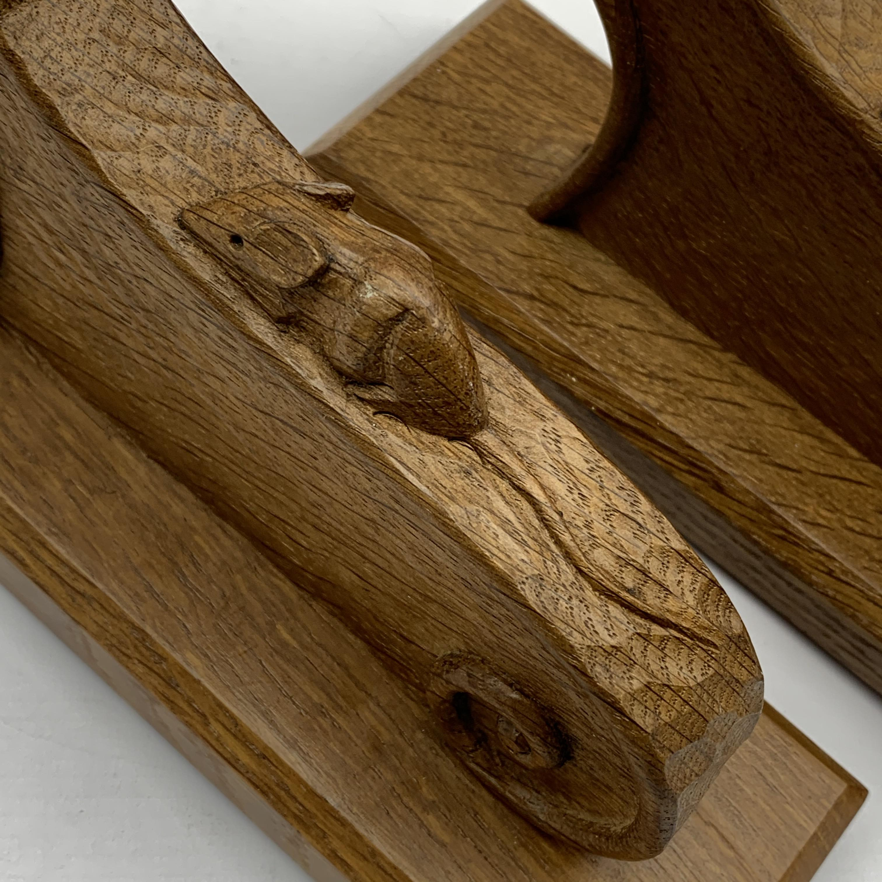Mouseman' pair carved oak wall sconces with mouse signature, scrolled decoration on chamfered - Image 2 of 5