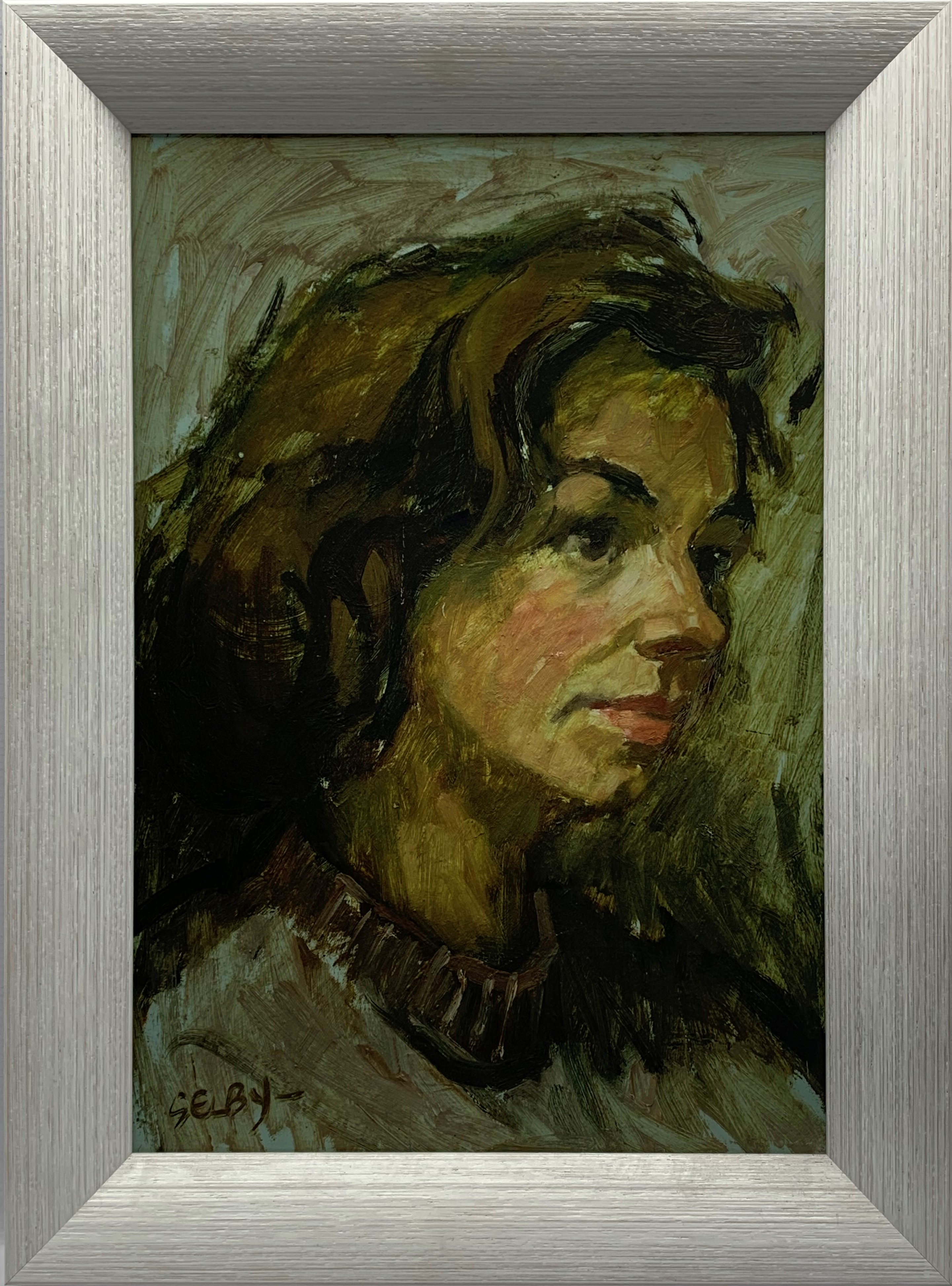William Selby (British 1933-): Head and Shoulders Portrait of a Young Woman, oil on board signed - Image 2 of 2