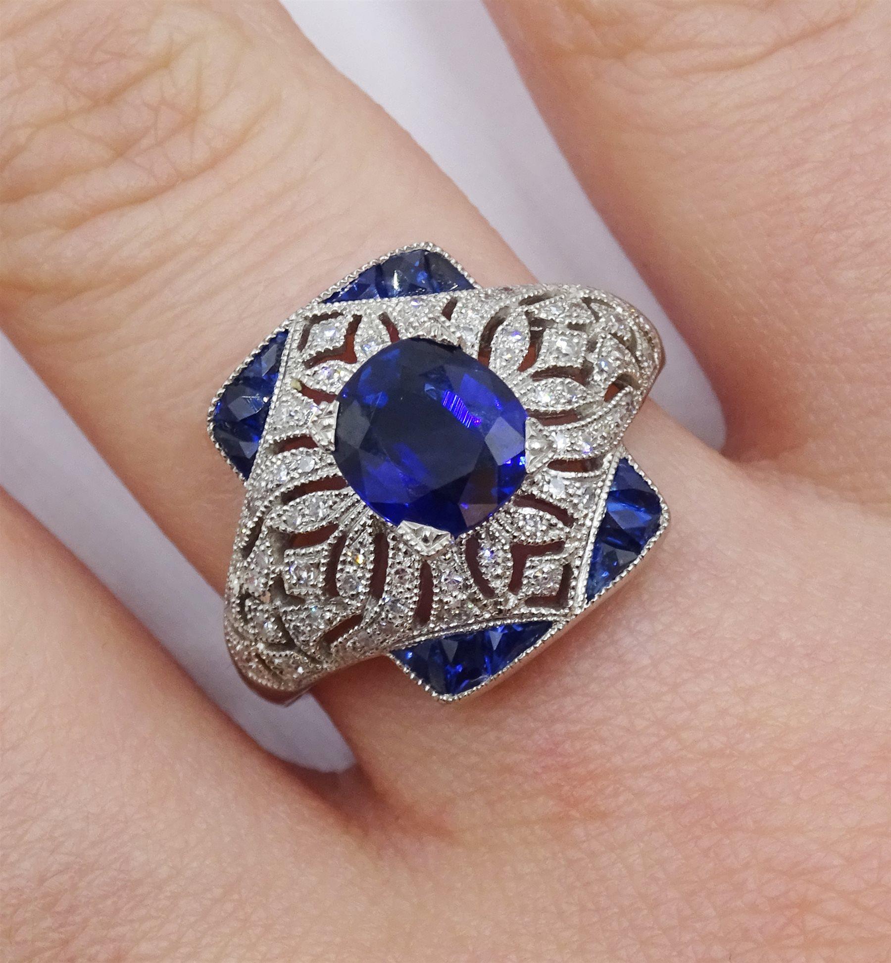 Platinum sapphire and diamond dress ring, pierced openwork setting, free UK mainland shipping - Image 2 of 6