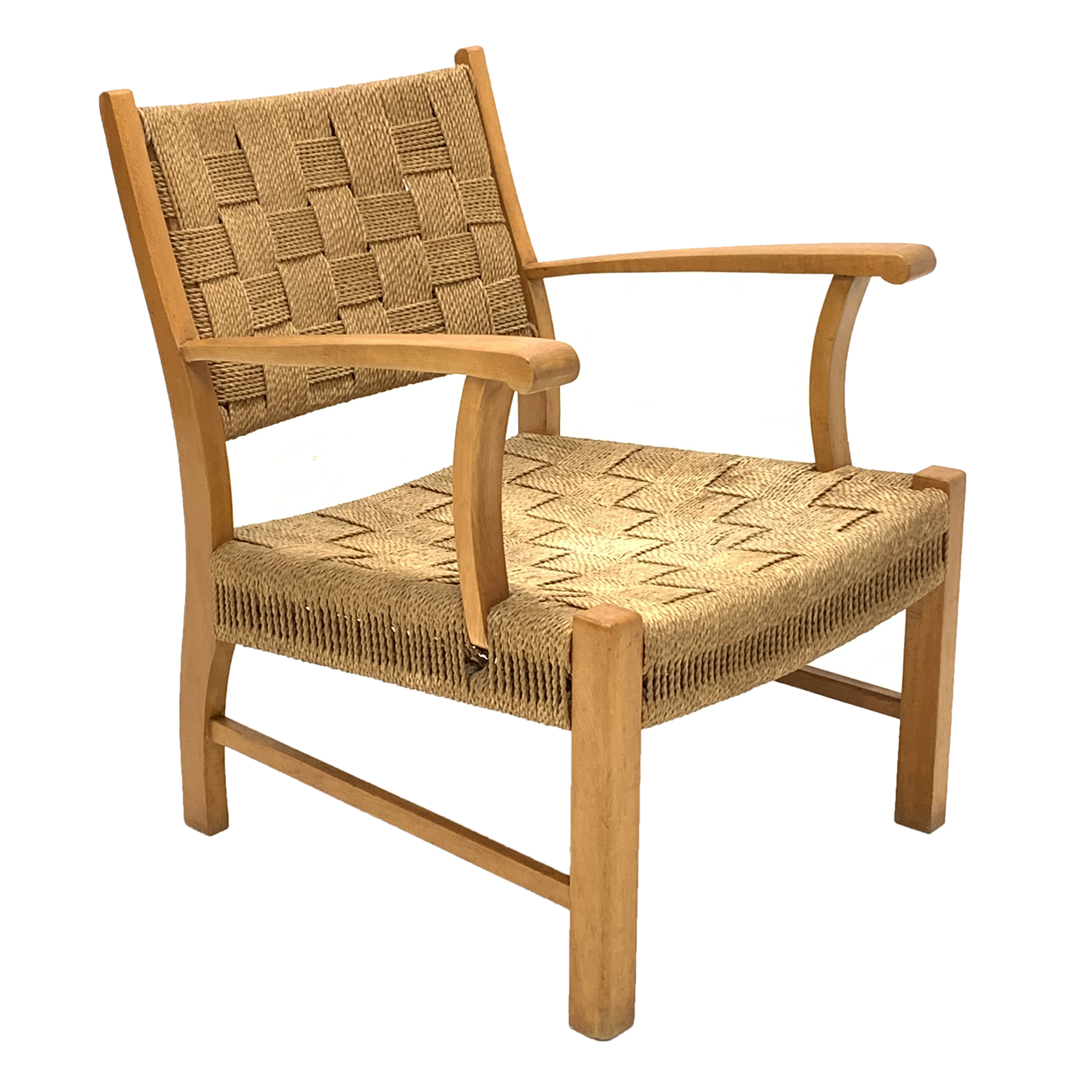 Attributed to Frits Schlegel - Danish beech and cord lounge chair, circa. 1940s, W60cm