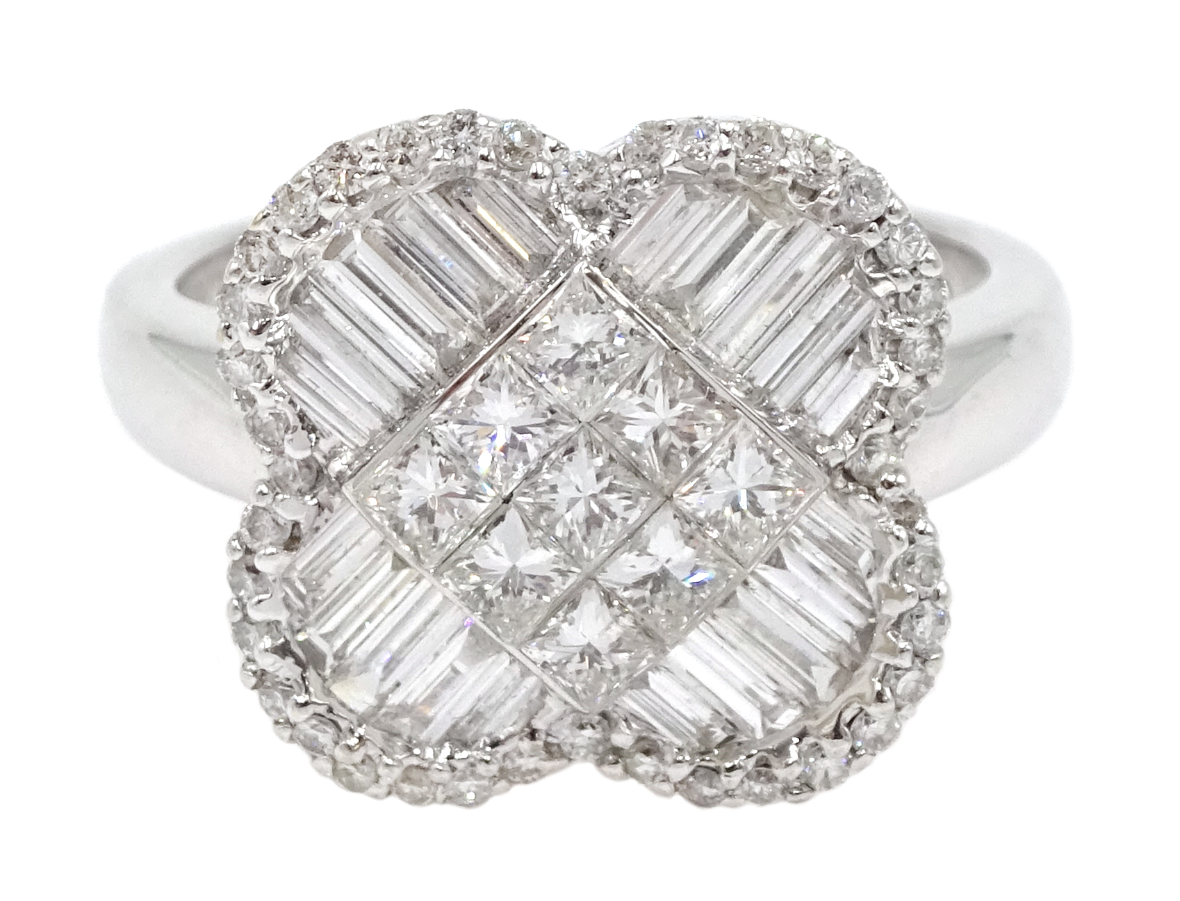 18ct white gold and diamond cluster ring, diamond total weight approx 1.25 carat, free UK mainland