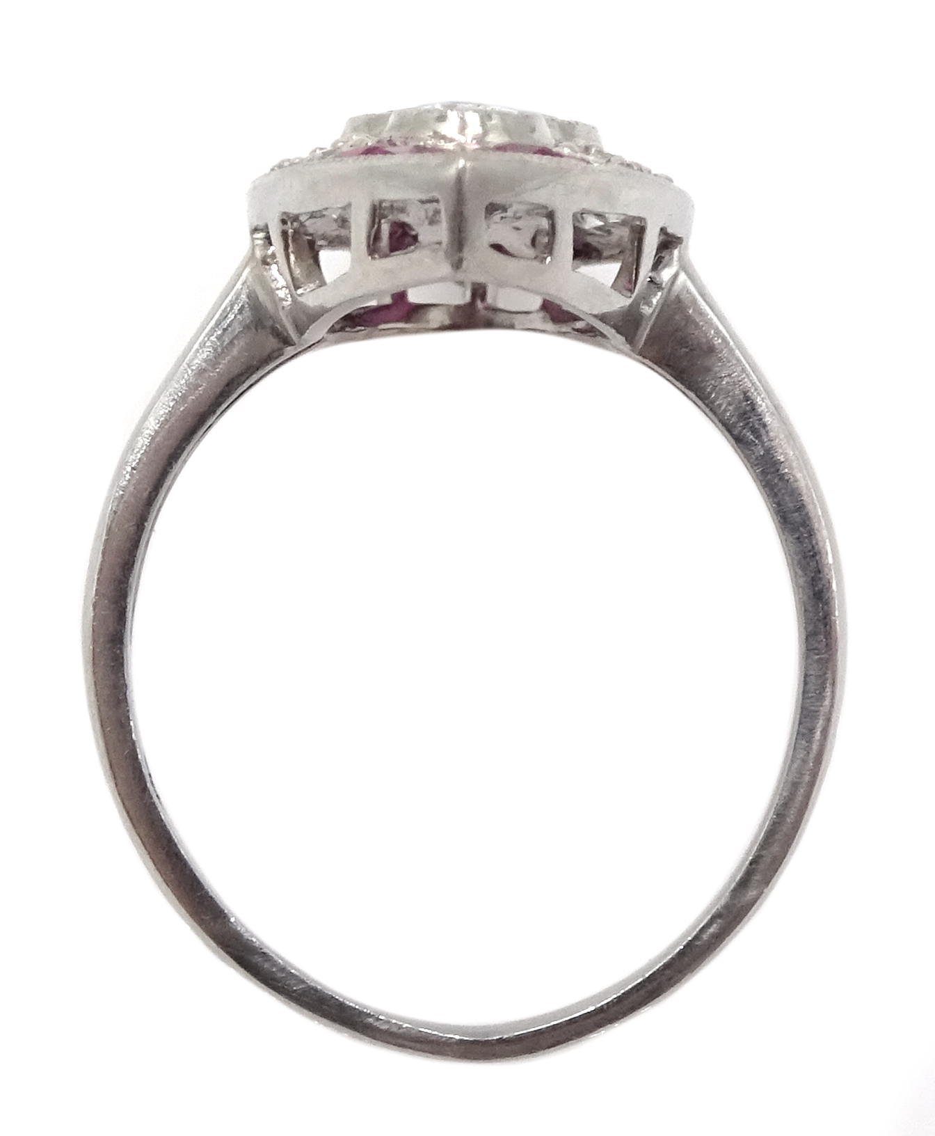Victorian style marquise shaped platinum ring set with rubies and diamonds, free UK mainland - Image 5 of 6