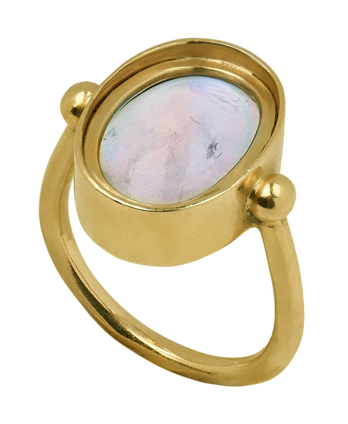 18ct gold oval cabochon rainbow moonstone ring, hallmarked, free UK mainland shipping available on - Image 4 of 4