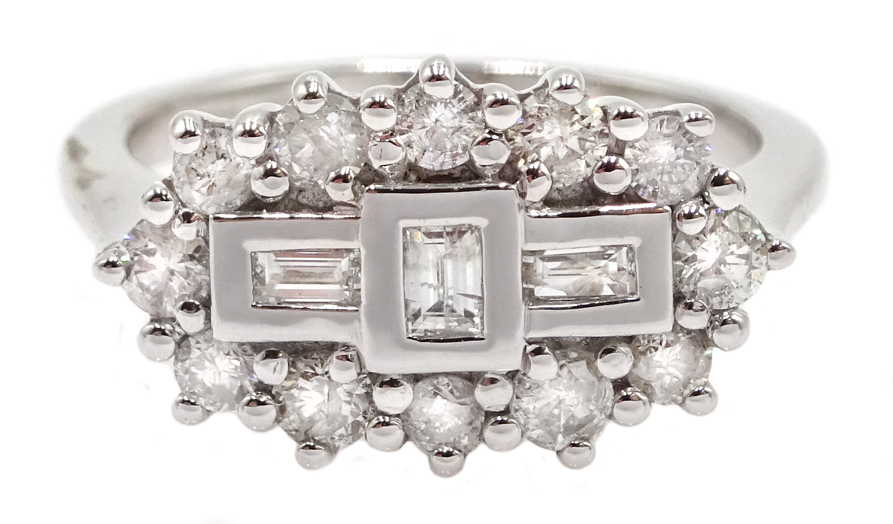 18ct white gold and diamond cluster ring, diamond total weight 0.75 carat, free UK mainland shipping