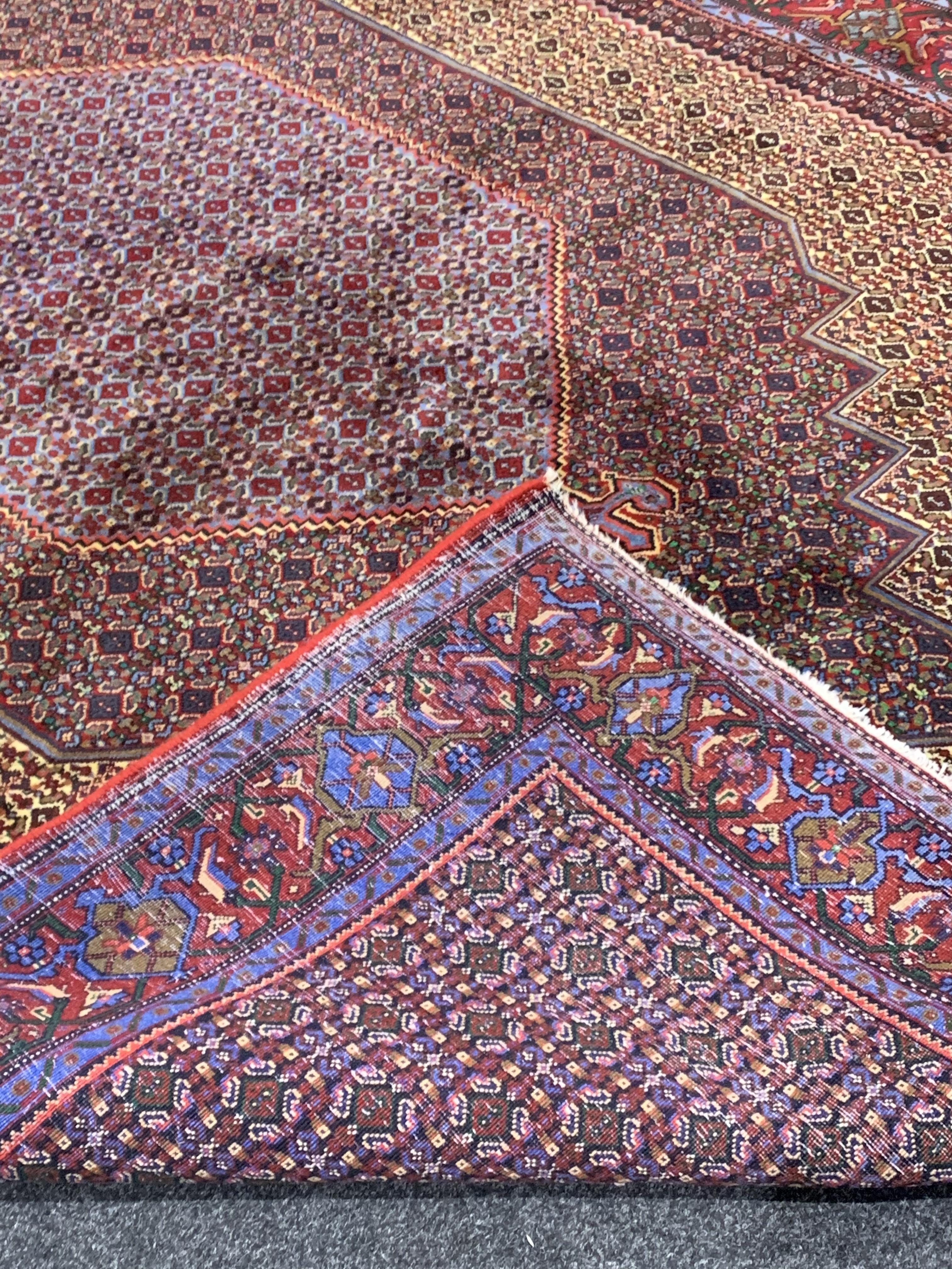 Fine Persian Senneh rug, profusely decorated with Herati motifs, multiple lozenge fields, stylised - Image 3 of 4