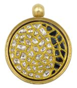 18ct gold swivel pendant polki diamonds kundan set in 24ct gold, the reverse set with black and