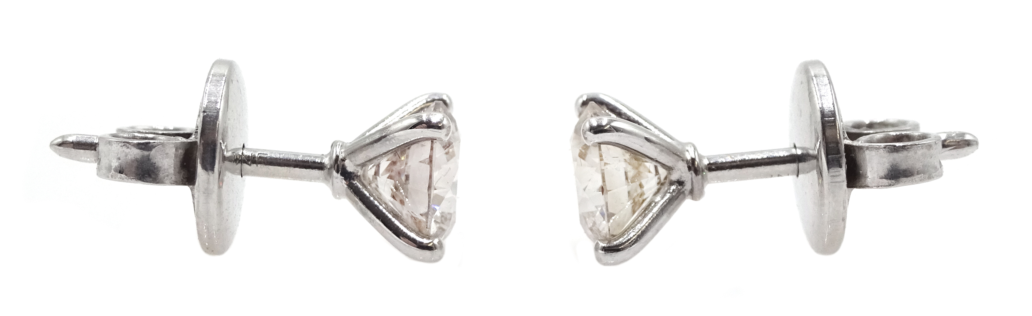 18ct white gold four claw solitaire diamond stud earrings, diamond total weight approx 1.00 carat, - Image 3 of 3