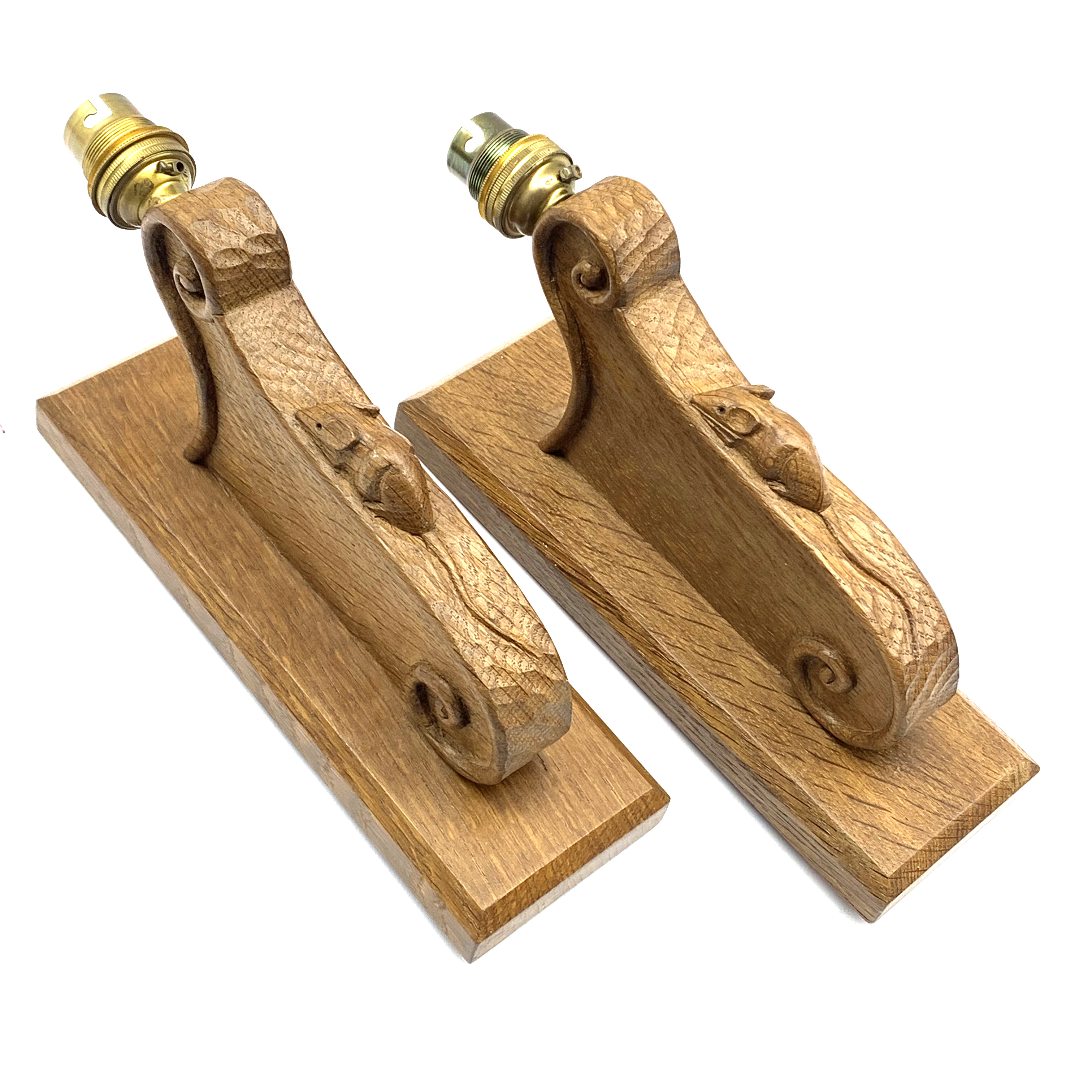 Mouseman' pair carved oak wall sconces with mouse signature, scrolled decoration on chamfered
