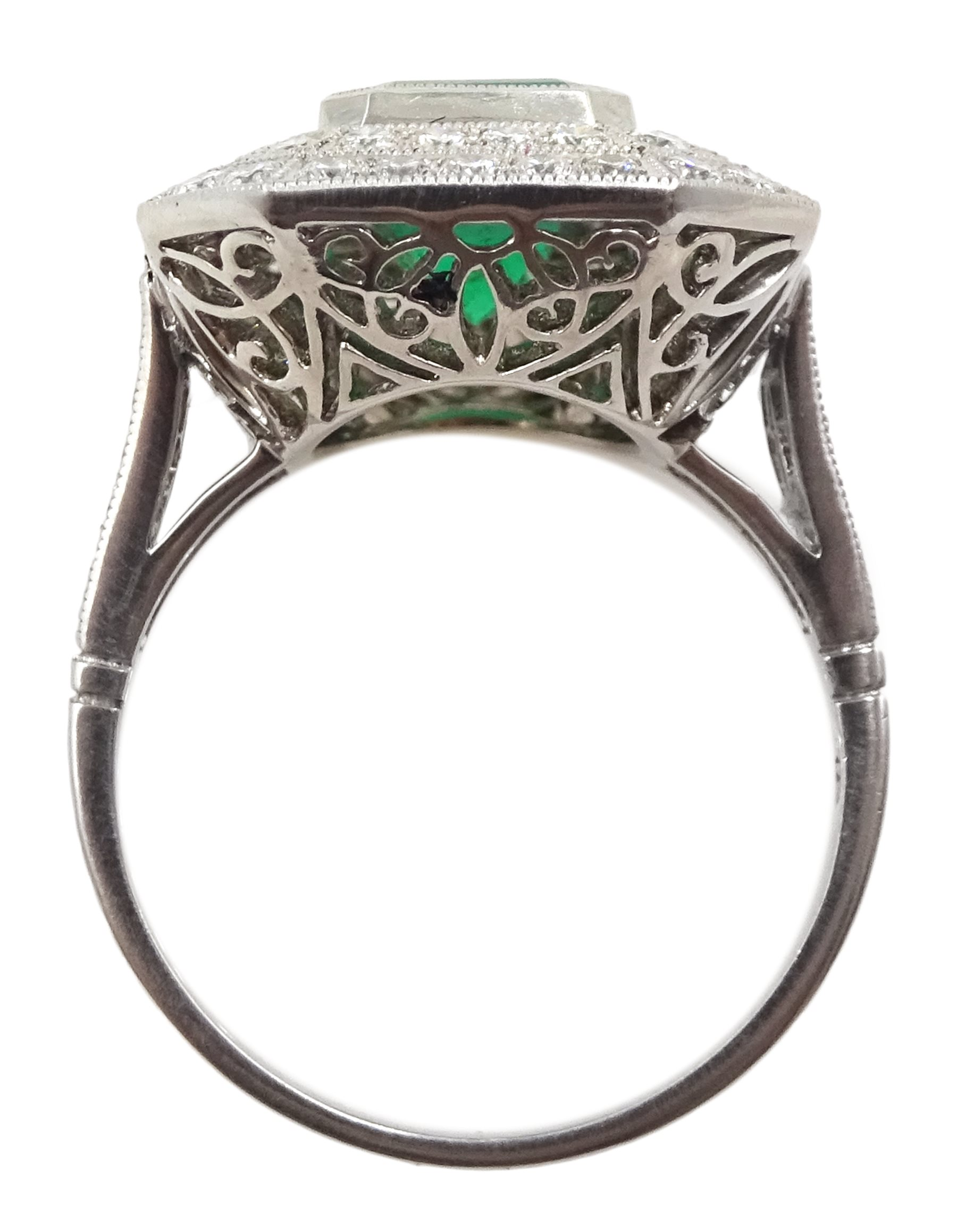 Platinum emerald and double row diamond ring, with diamond set shoulders, emerald approx 1.85 carat, - Image 5 of 5
