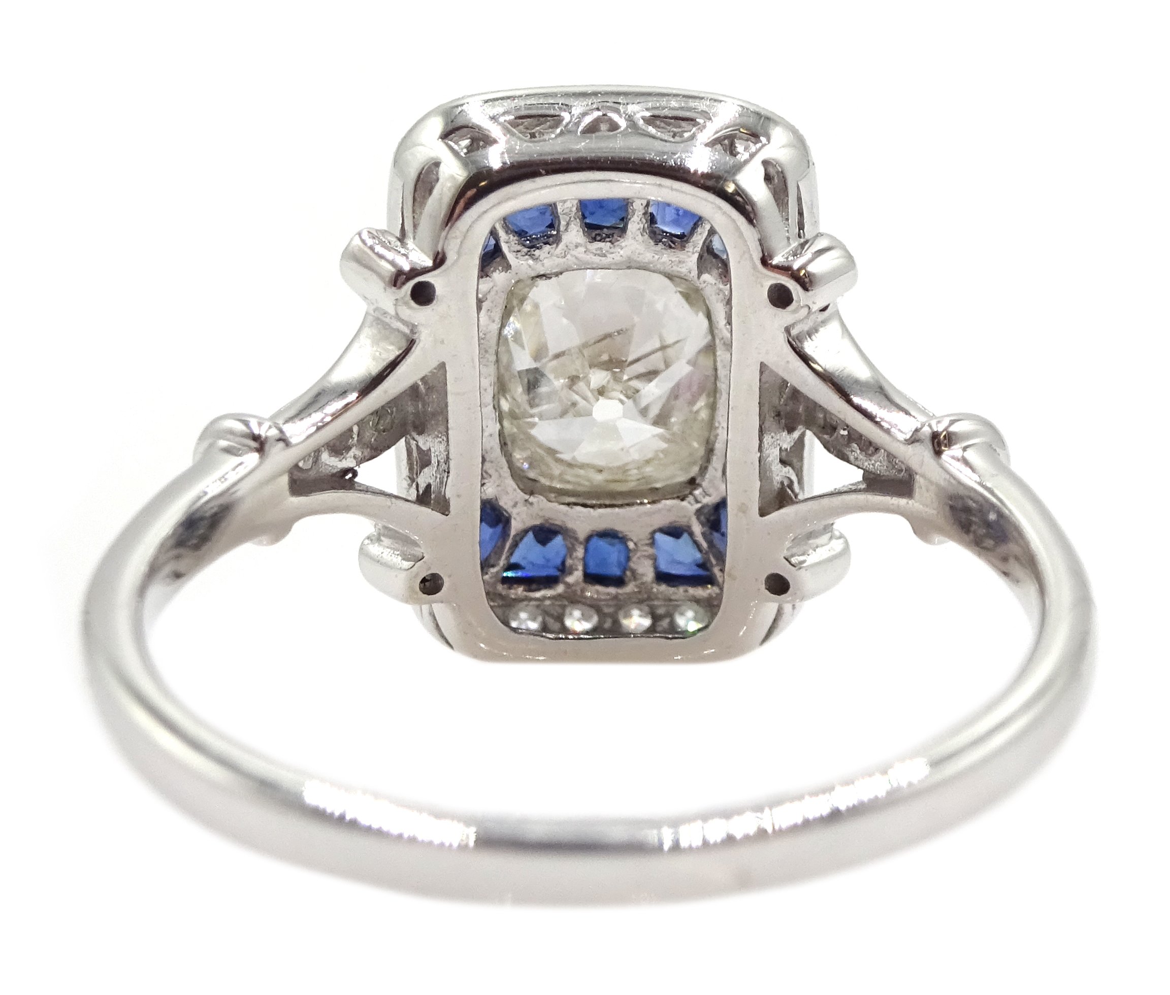 Art Deco style 18ct white gold, sapphire and diamond ring, central old cut diamond surrounded by - Image 6 of 6