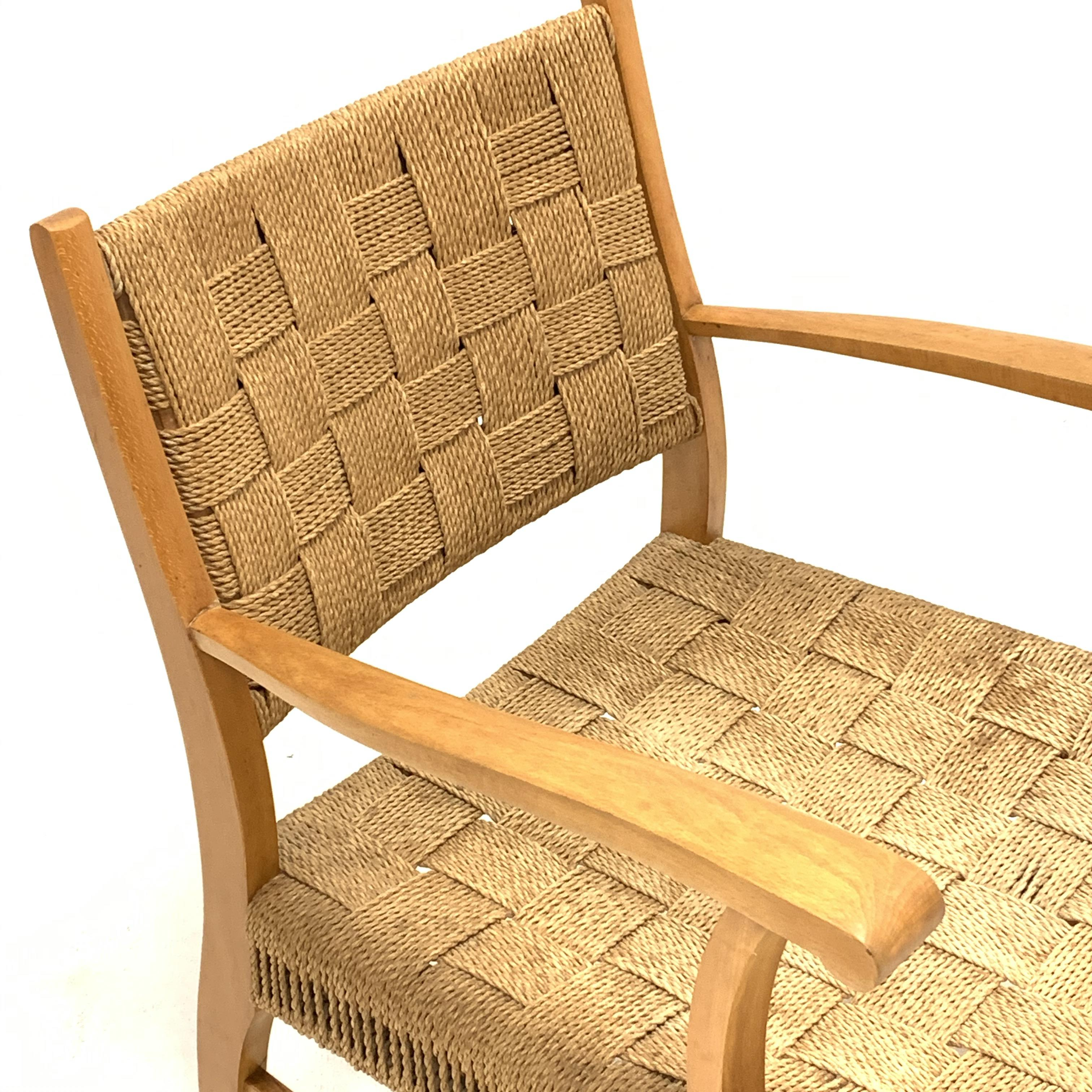 Attributed to Frits Schlegel - Danish beech and cord lounge chair, circa. 1940s, W60cm - Image 2 of 5