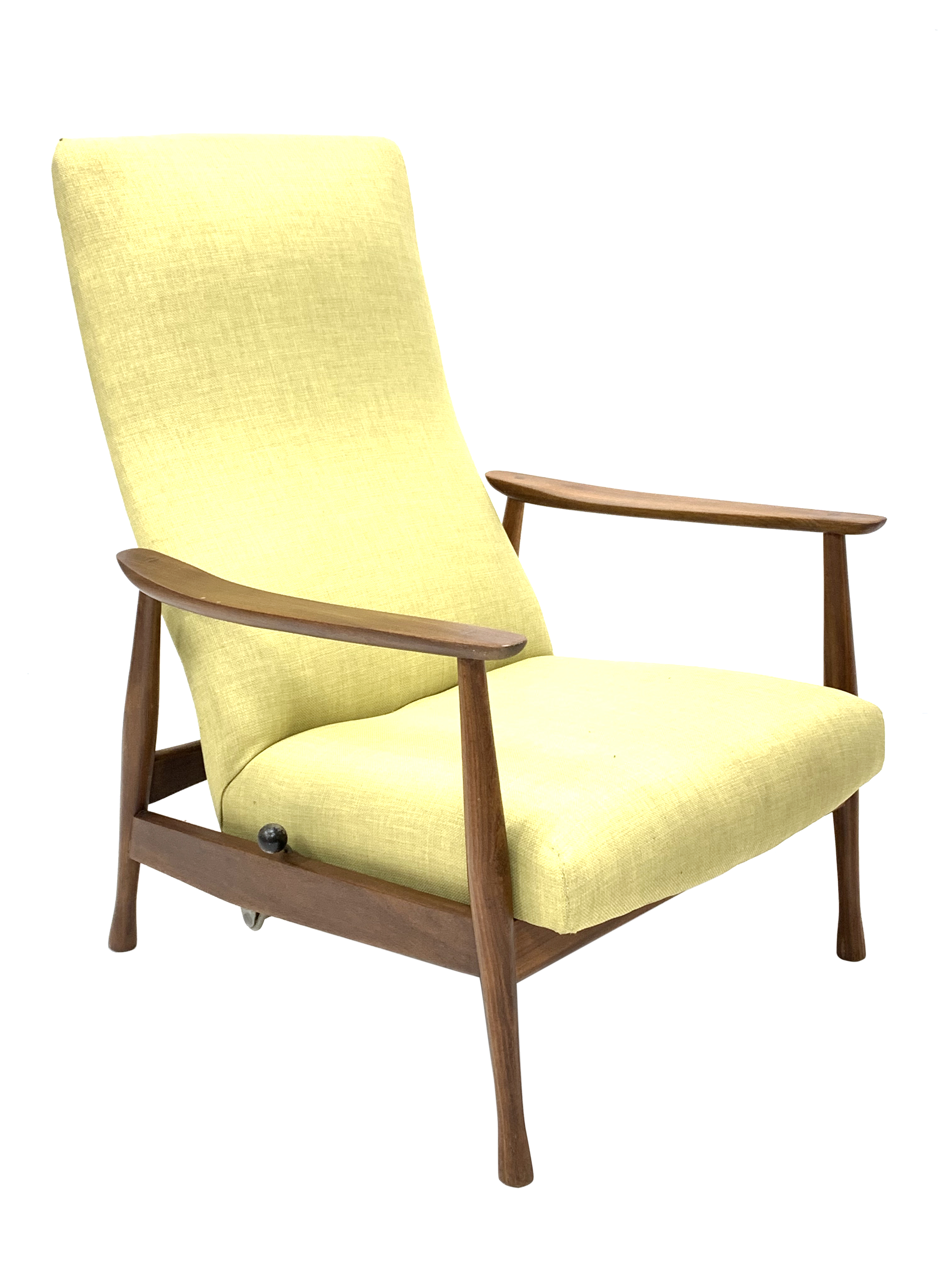 Milo Baughman - Danish teak framed rocking and reclining lounger armchair with rest lever,