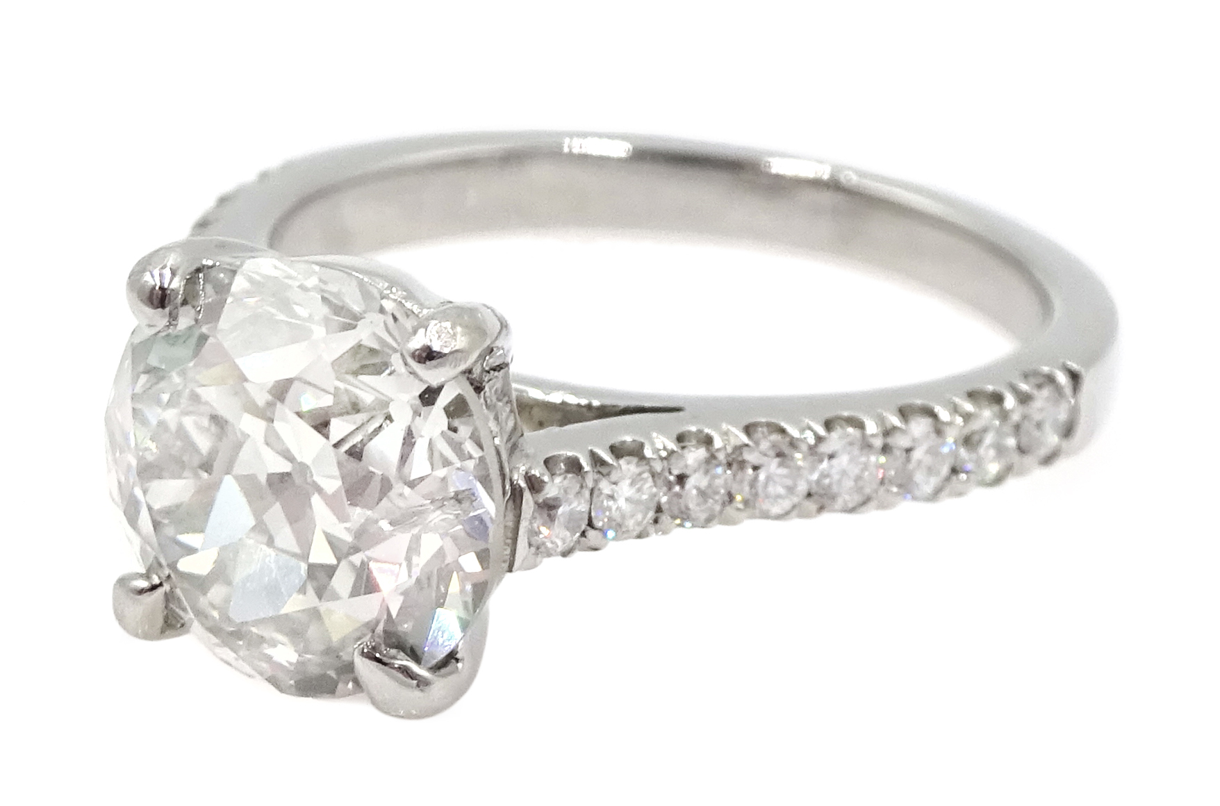 Platinum old cut diamond solitaire ring with diamond set shoulders, hallmarked, central diamond 2.10 - Image 4 of 9
