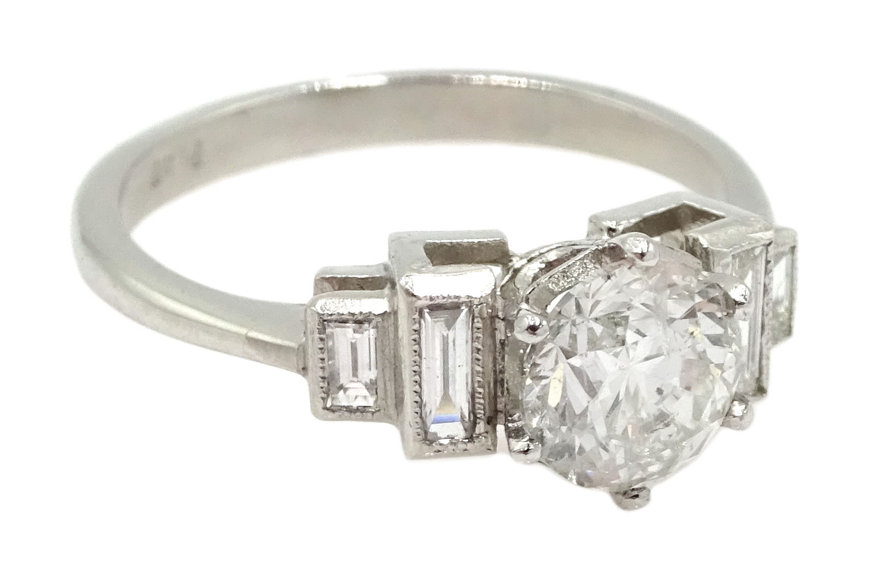 Art Deco style platinum ring set with central old cut diamond and diamonds to shoulders, central - Image 3 of 6