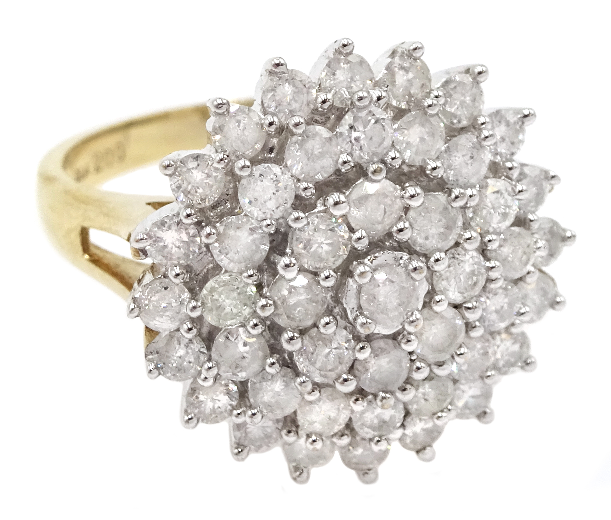 9ct gold cluster ring set with diamonds, diamond total weight approx 2.00 carat, free UK mainland - Image 3 of 6