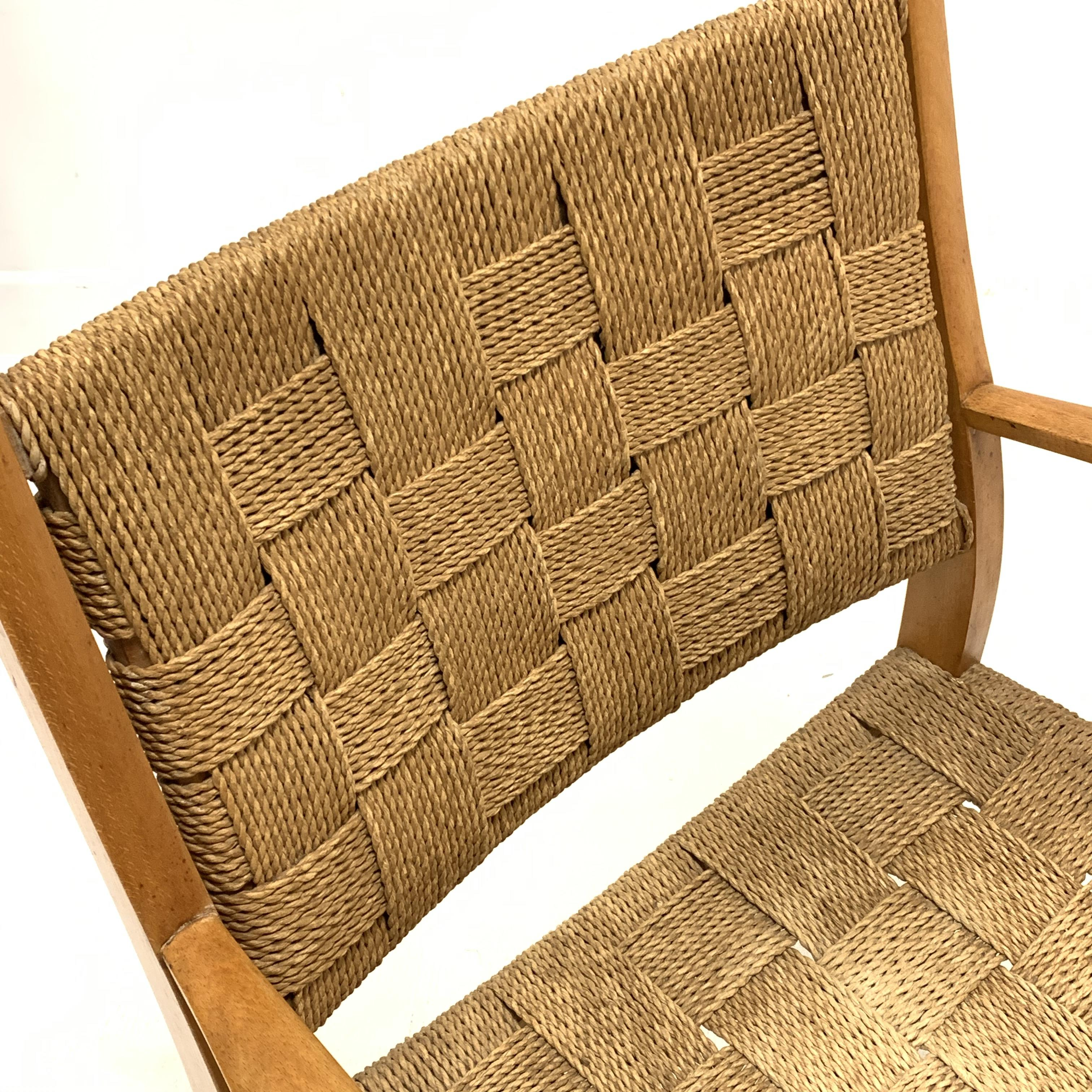 Attributed to Frits Schlegel - Danish beech and cord lounge chair, circa. 1940s, W60cm - Image 4 of 5