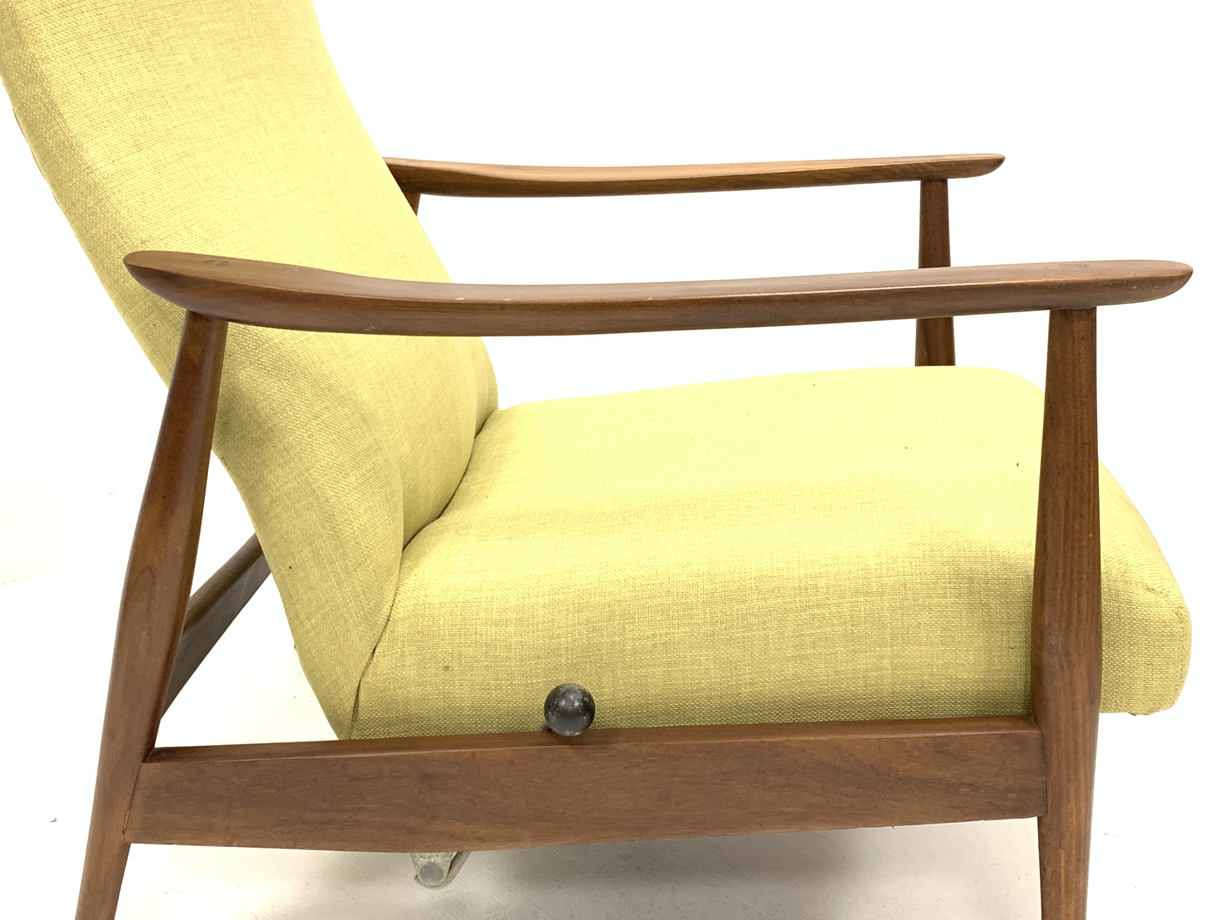 Milo Baughman - Danish teak framed rocking and reclining lounger armchair with rest lever, - Image 2 of 5