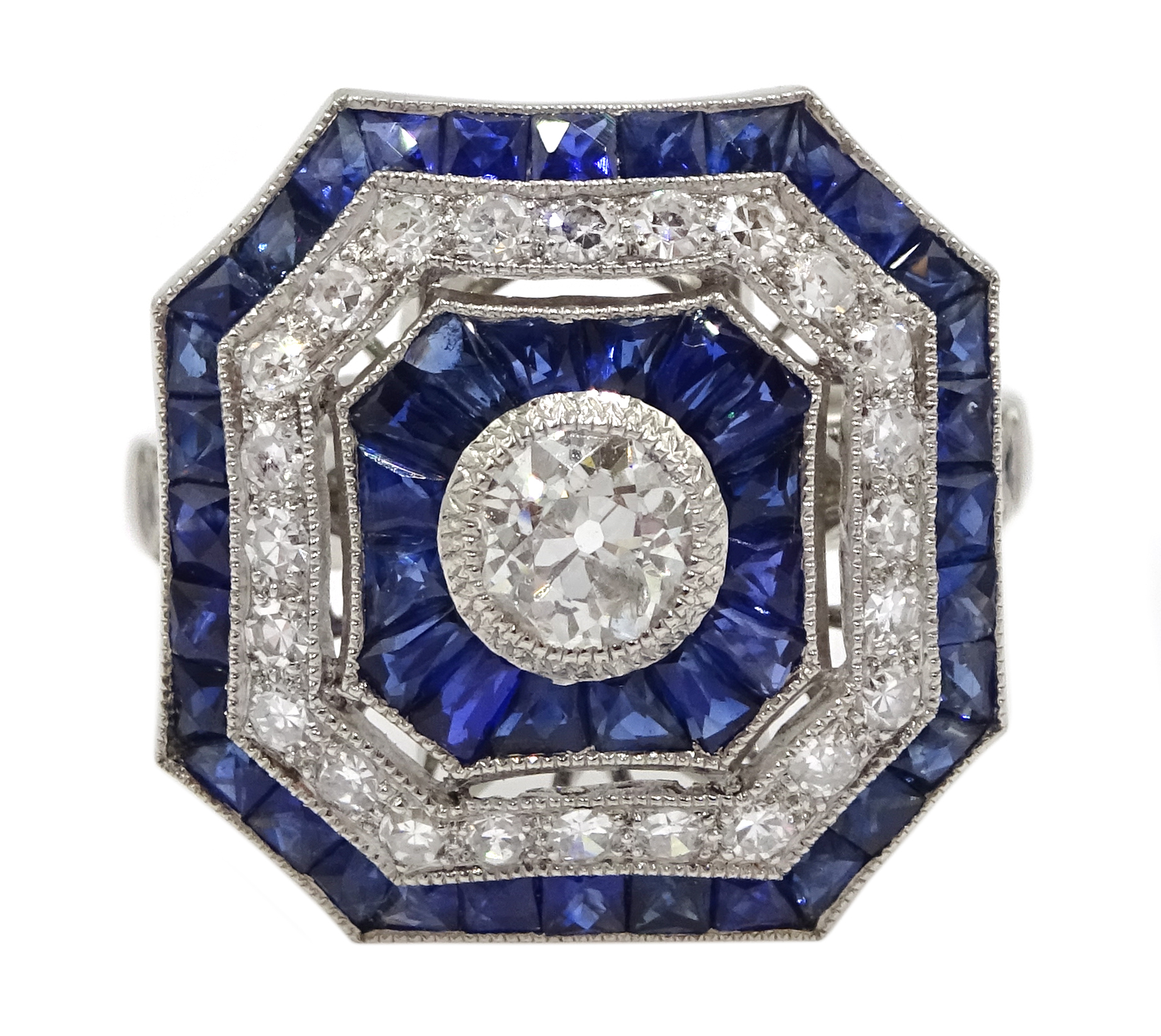 Large Victorian style platinum cluster ring, set with diamonds and sapphires, total weight of - Image 2 of 6