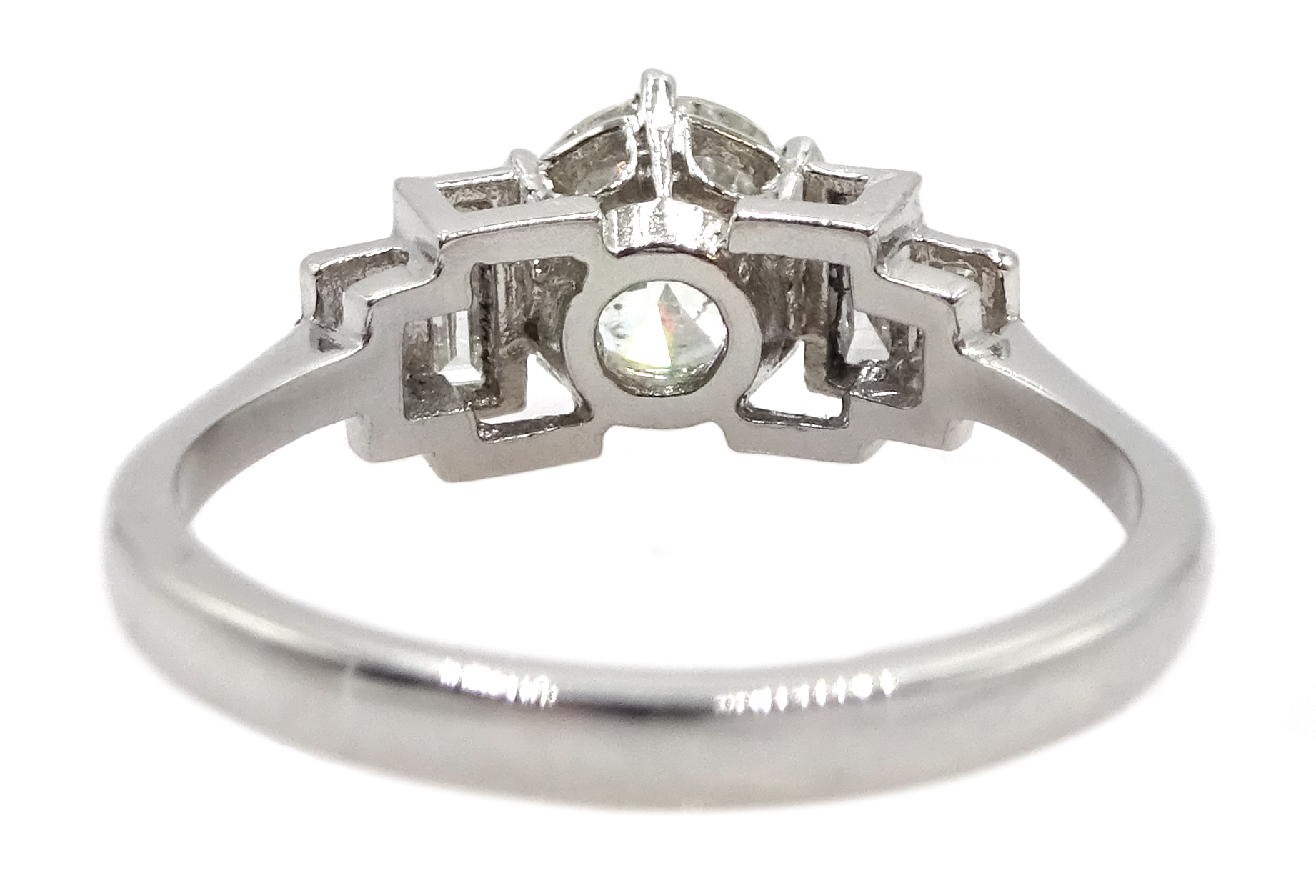 Art Deco style platinum ring set with central old cut diamond and diamonds to shoulders, central - Image 6 of 6
