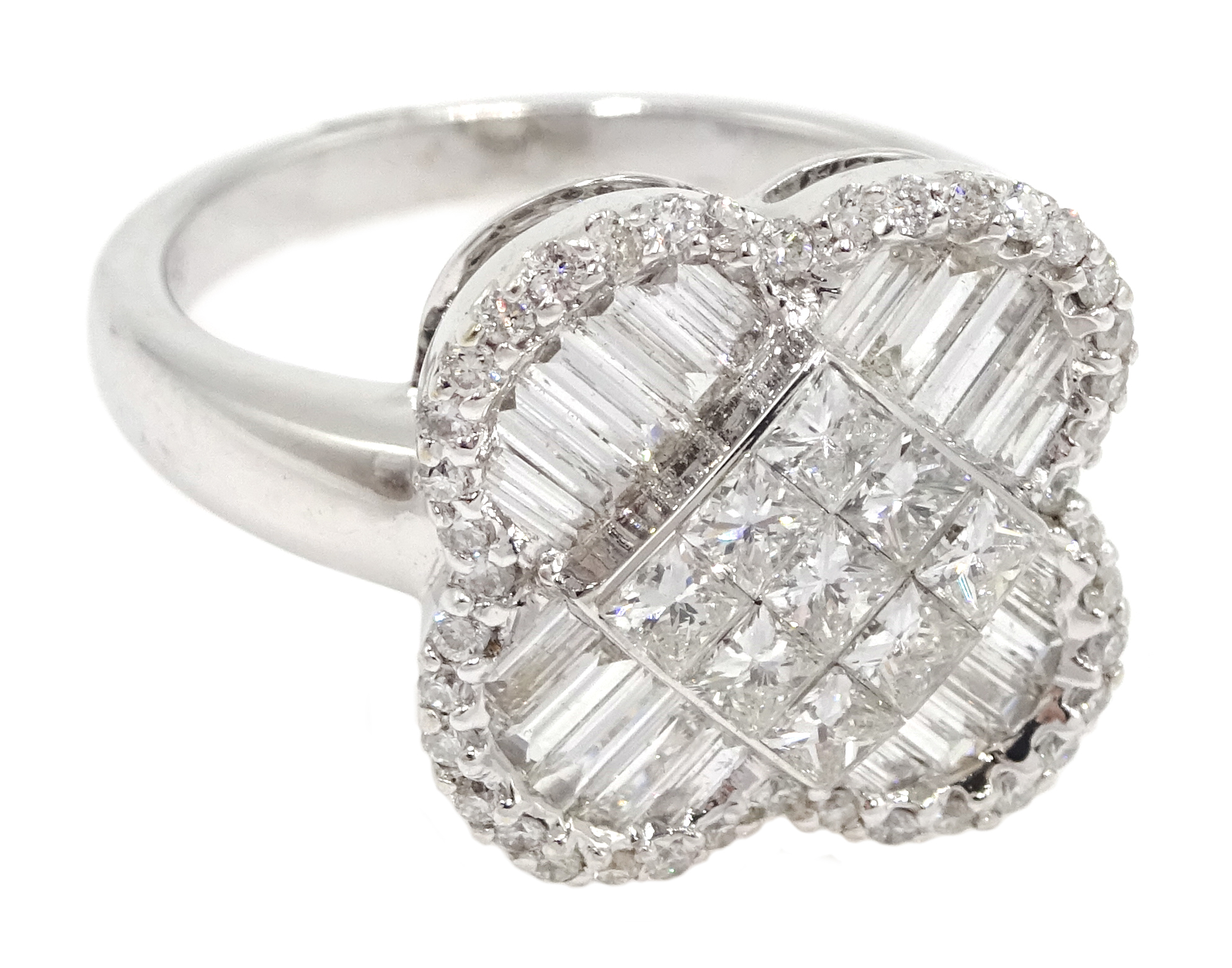 18ct white gold and diamond cluster ring, diamond total weight approx 1.25 carat, free UK mainland - Image 3 of 6