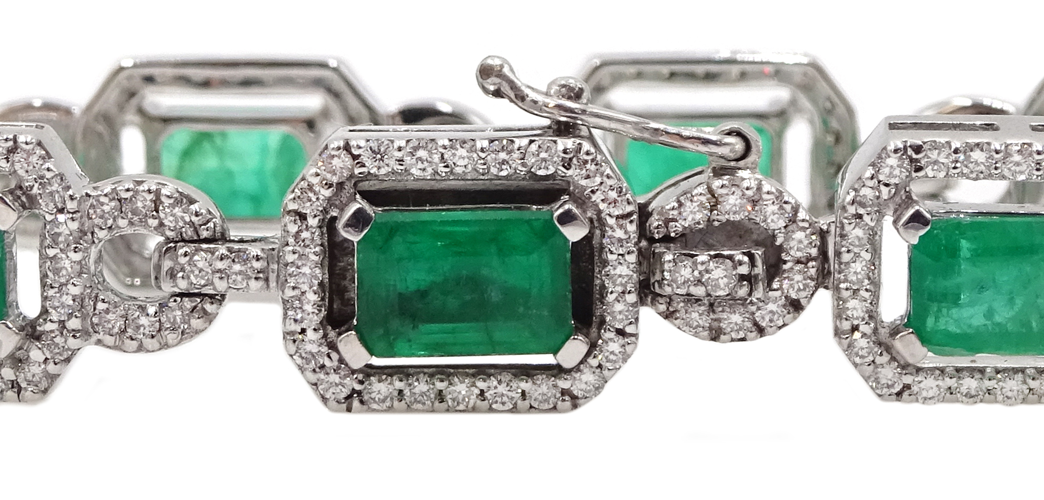 18ct white gold emerald cut emerald and round brilliant cut diamond bracelet, hallmarked, emerald - Image 4 of 4