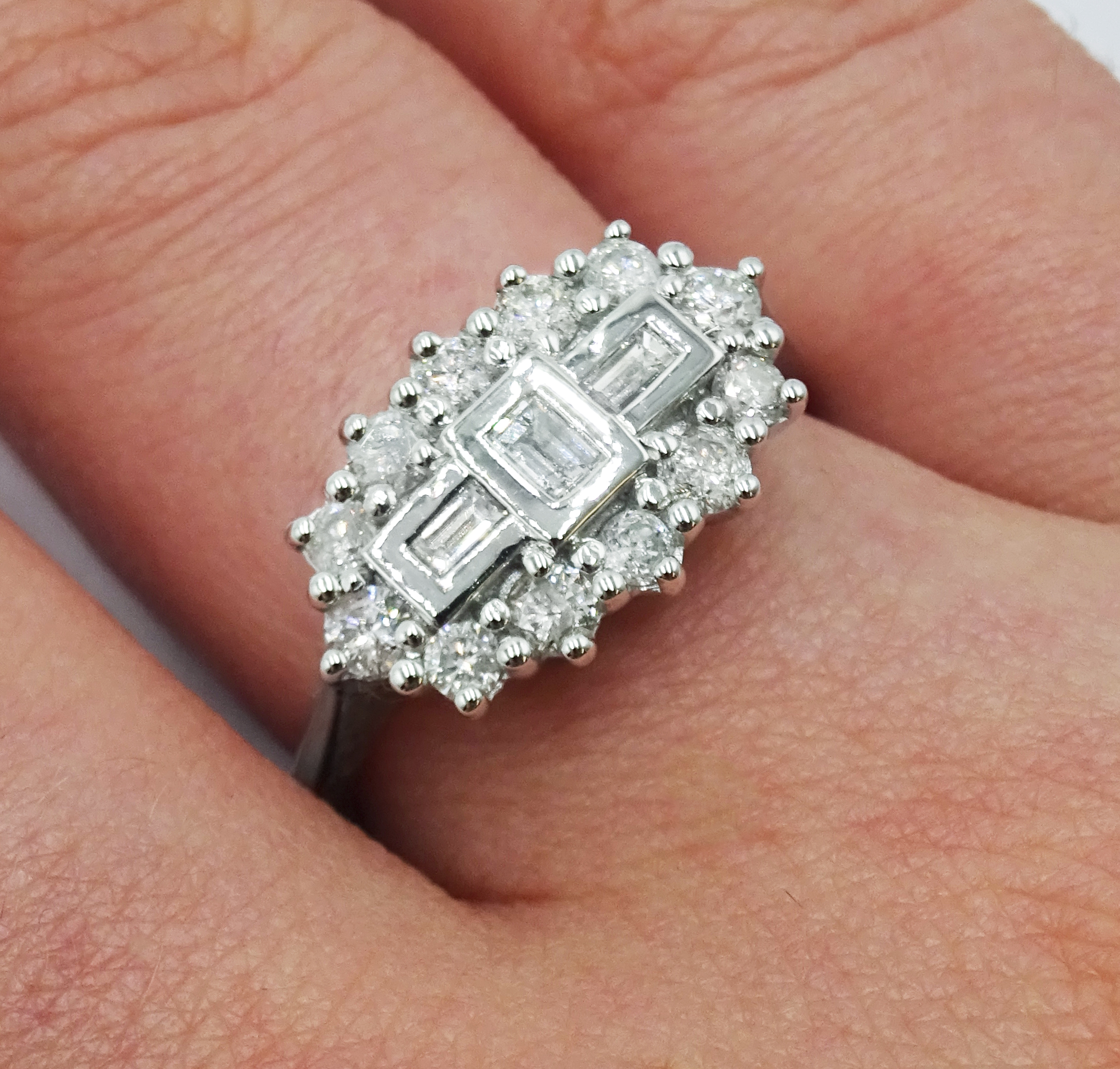 18ct white gold and diamond cluster ring, diamond total weight 0.75 carat, free UK mainland shipping - Image 2 of 6