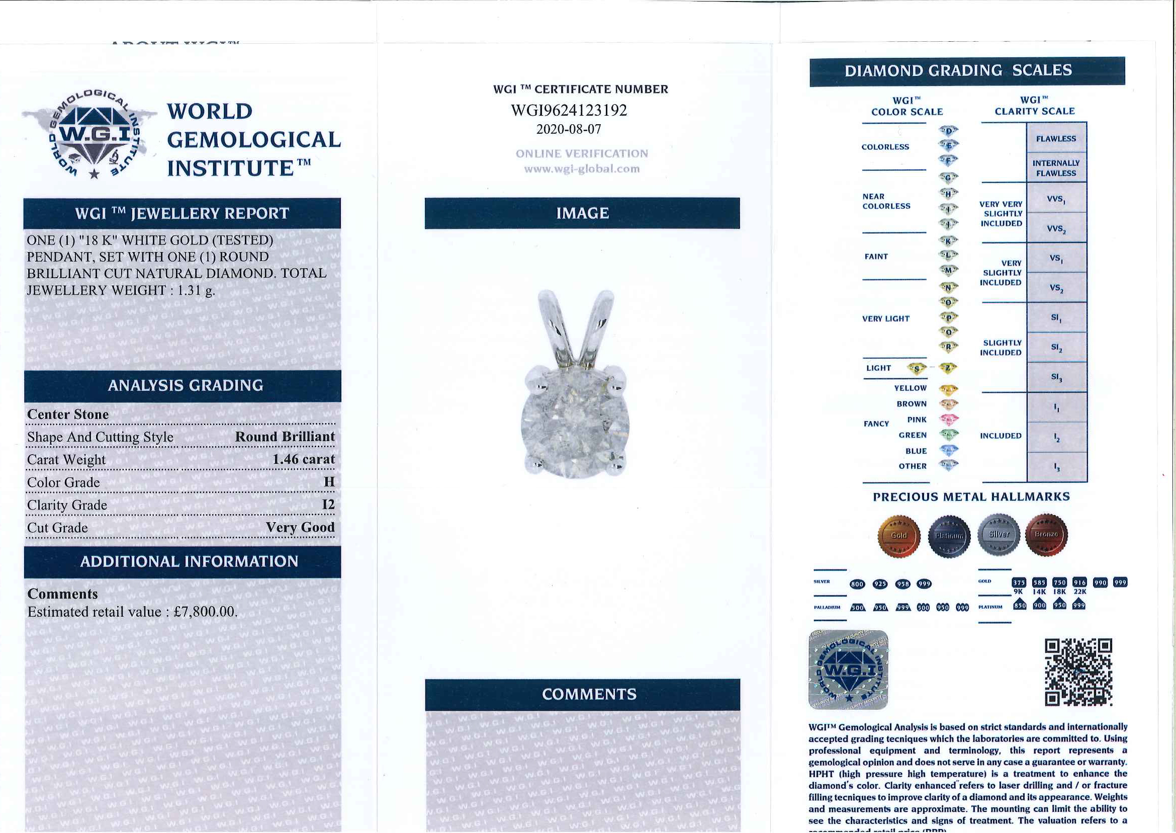 18ct white gold round brilliant cut diamond pendant, diamond 1.46 carat, with World Gemological - Image 3 of 3