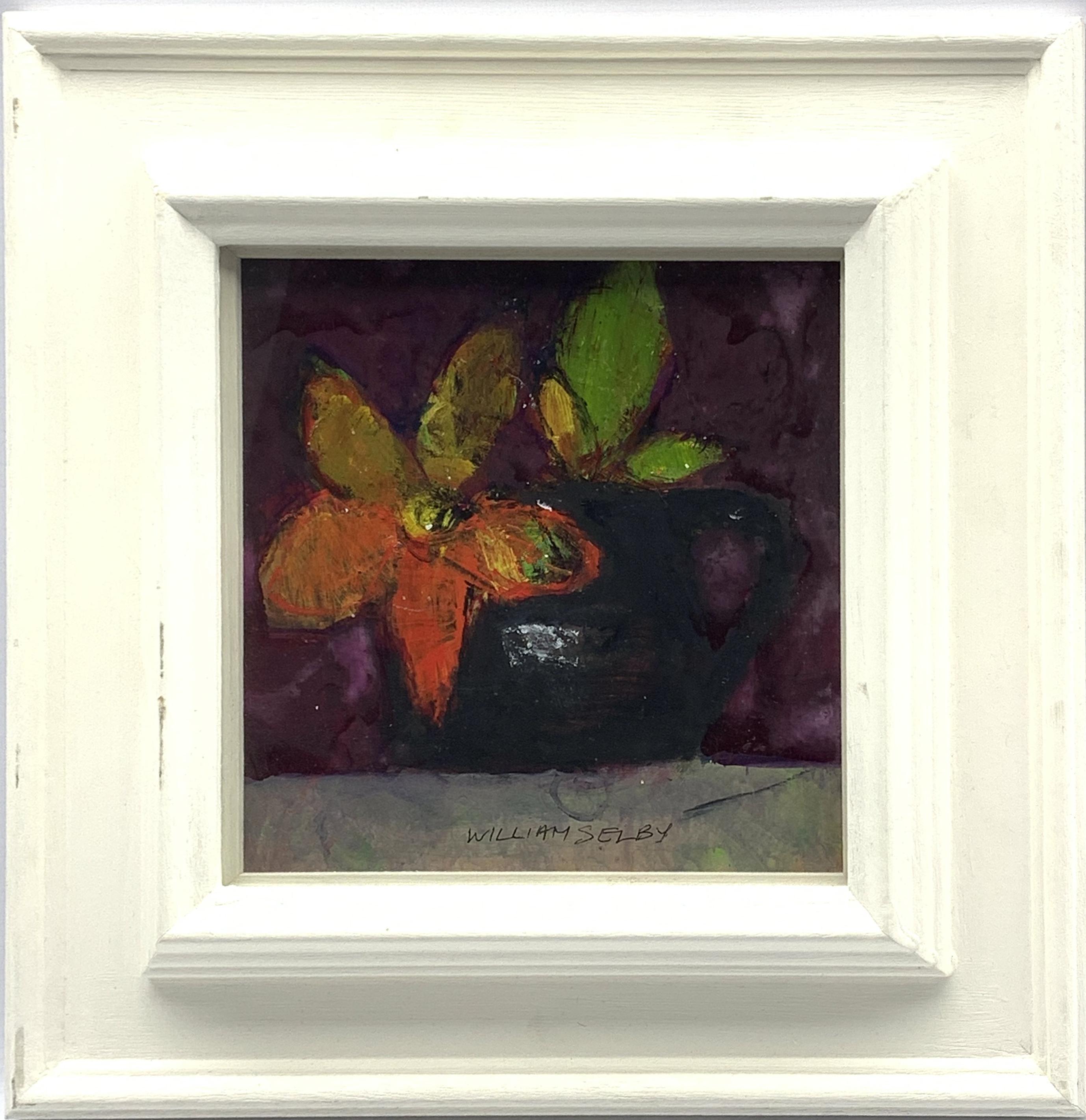 William Selby (British 1933-): Still Life with Black Mug, mixed media signed 18cm x 18cm, UK - Image 2 of 3