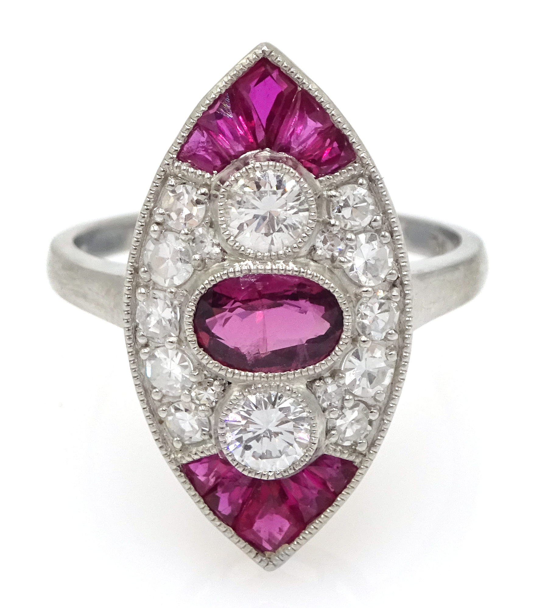 Victorian style marquise shaped platinum ring set with rubies and diamonds, free UK mainland