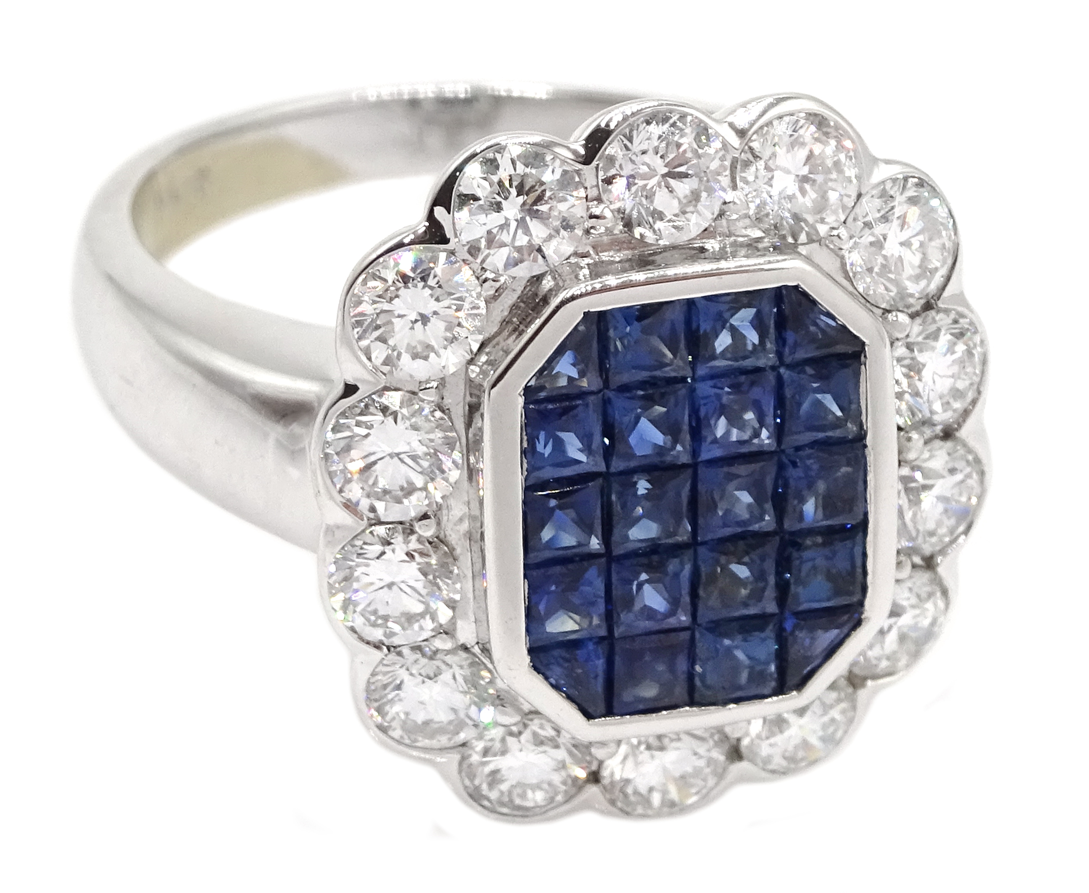 18ct white gold, sapphire and diamond cluster ring, sapphire total weight 2.10 carat, diamond - Image 3 of 5