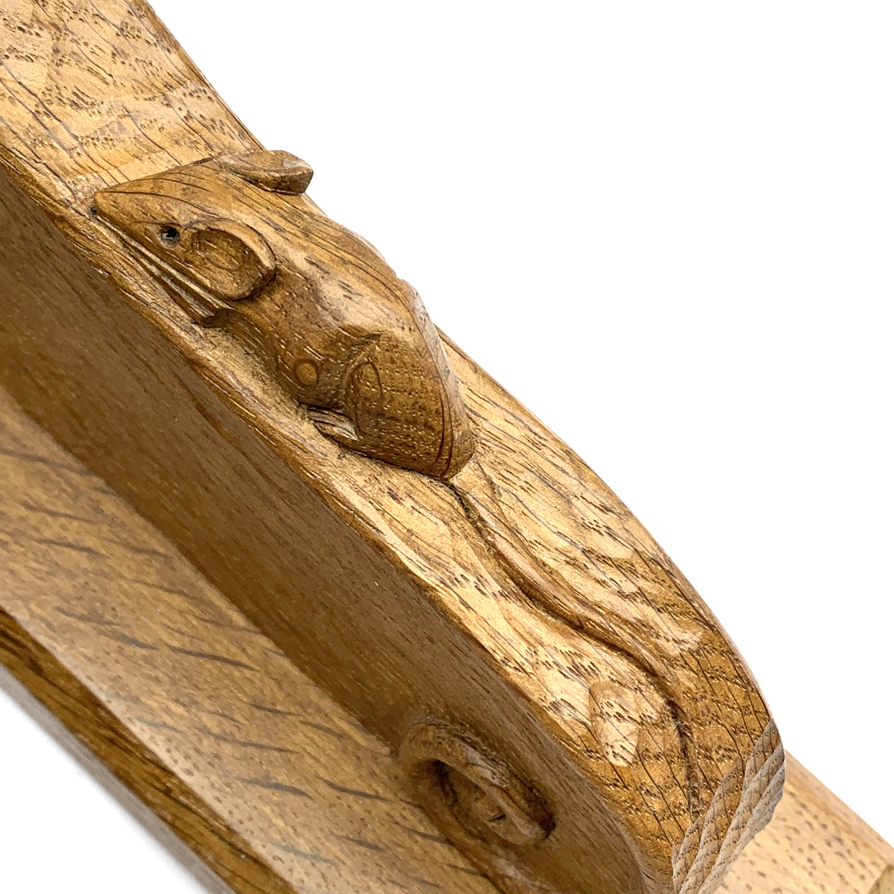 Mouseman' pair carved oak wall sconces with mouse signature, scrolled decoration on chamfered - Image 3 of 5