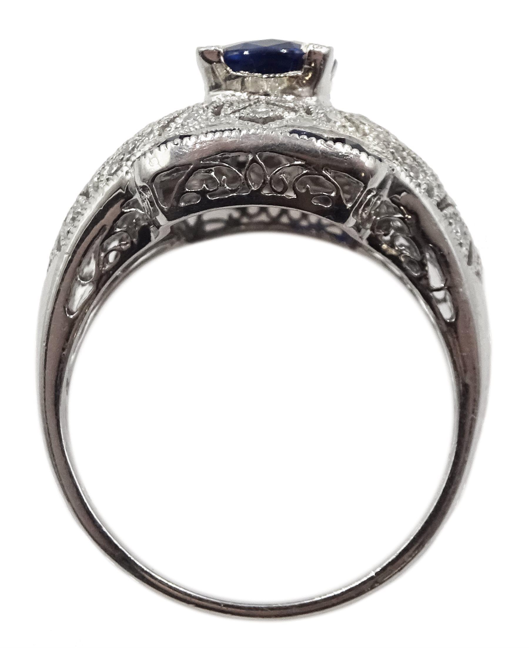 Platinum sapphire and diamond dress ring, pierced openwork setting, free UK mainland shipping - Image 6 of 6