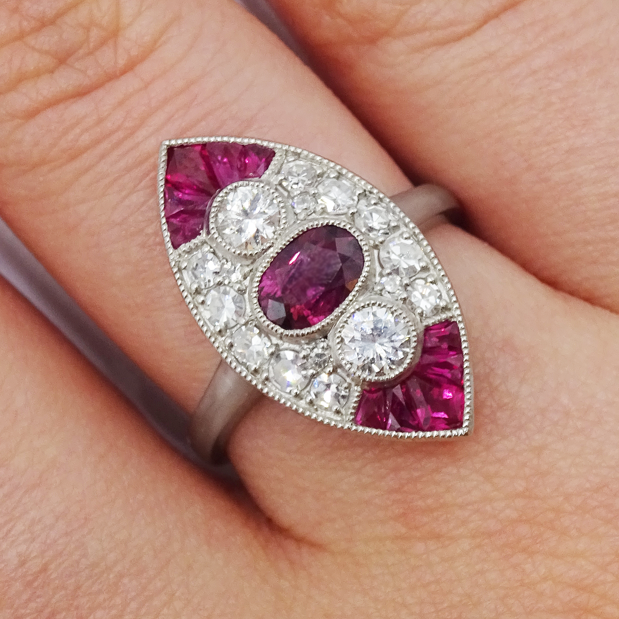 Victorian style marquise shaped platinum ring set with rubies and diamonds, free UK mainland - Image 2 of 6