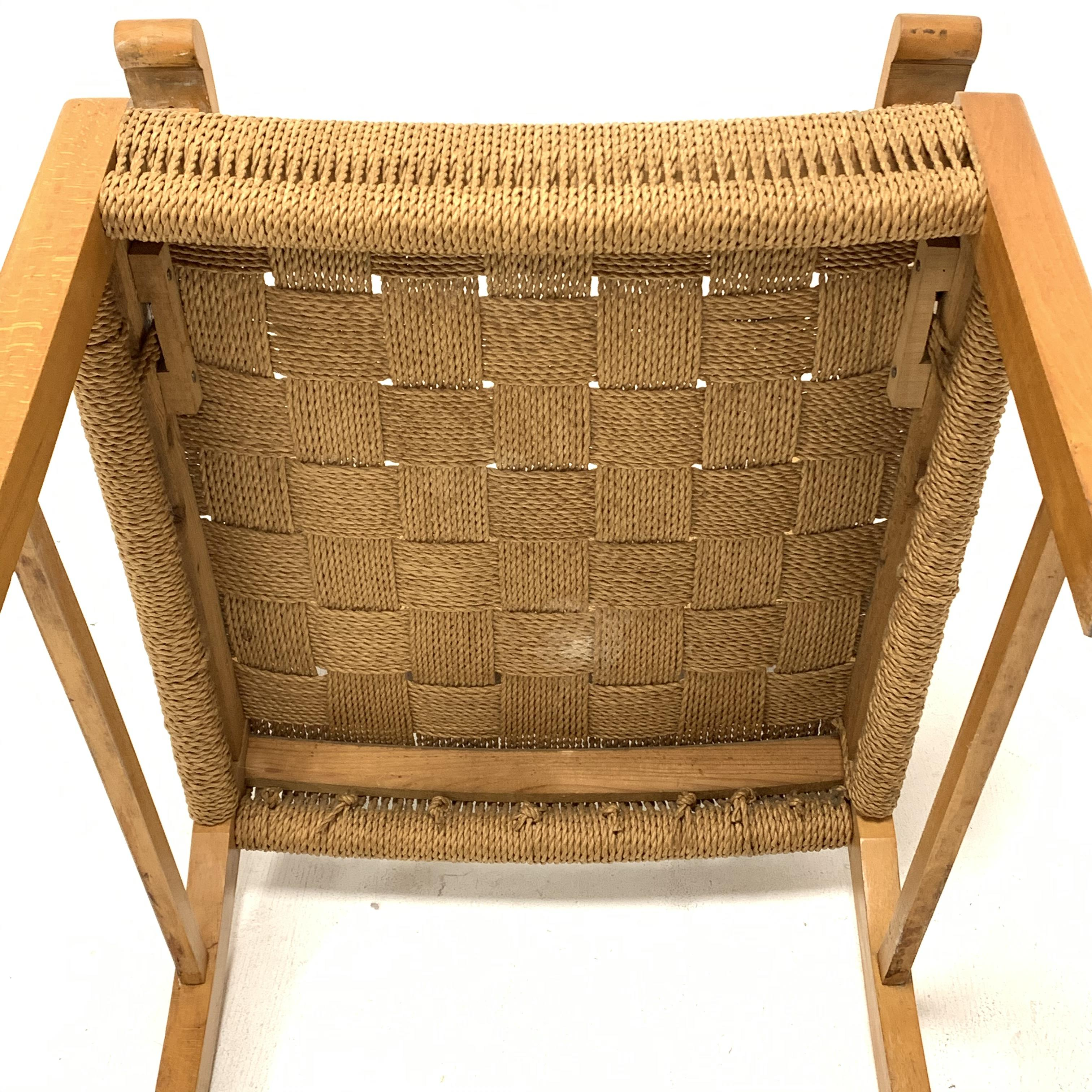Attributed to Frits Schlegel - Danish beech and cord lounge chair, circa. 1940s, W60cm - Image 5 of 5