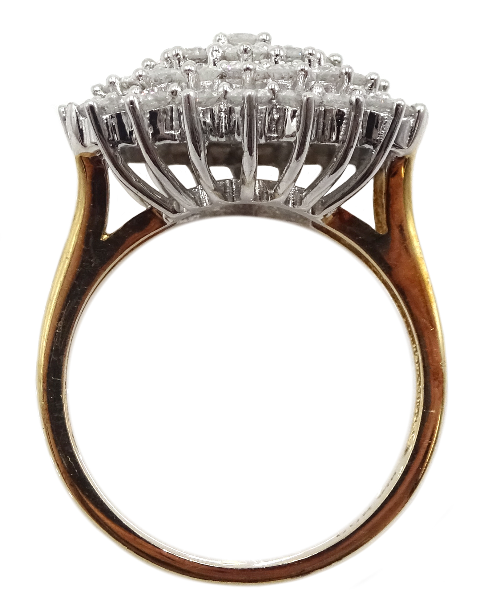 9ct gold cluster ring set with diamonds, diamond total weight approx 2.00 carat, free UK mainland - Image 5 of 6