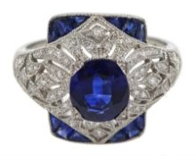 Platinum sapphire and diamond dress ring, pierced openwork setting, free UK mainland shipping