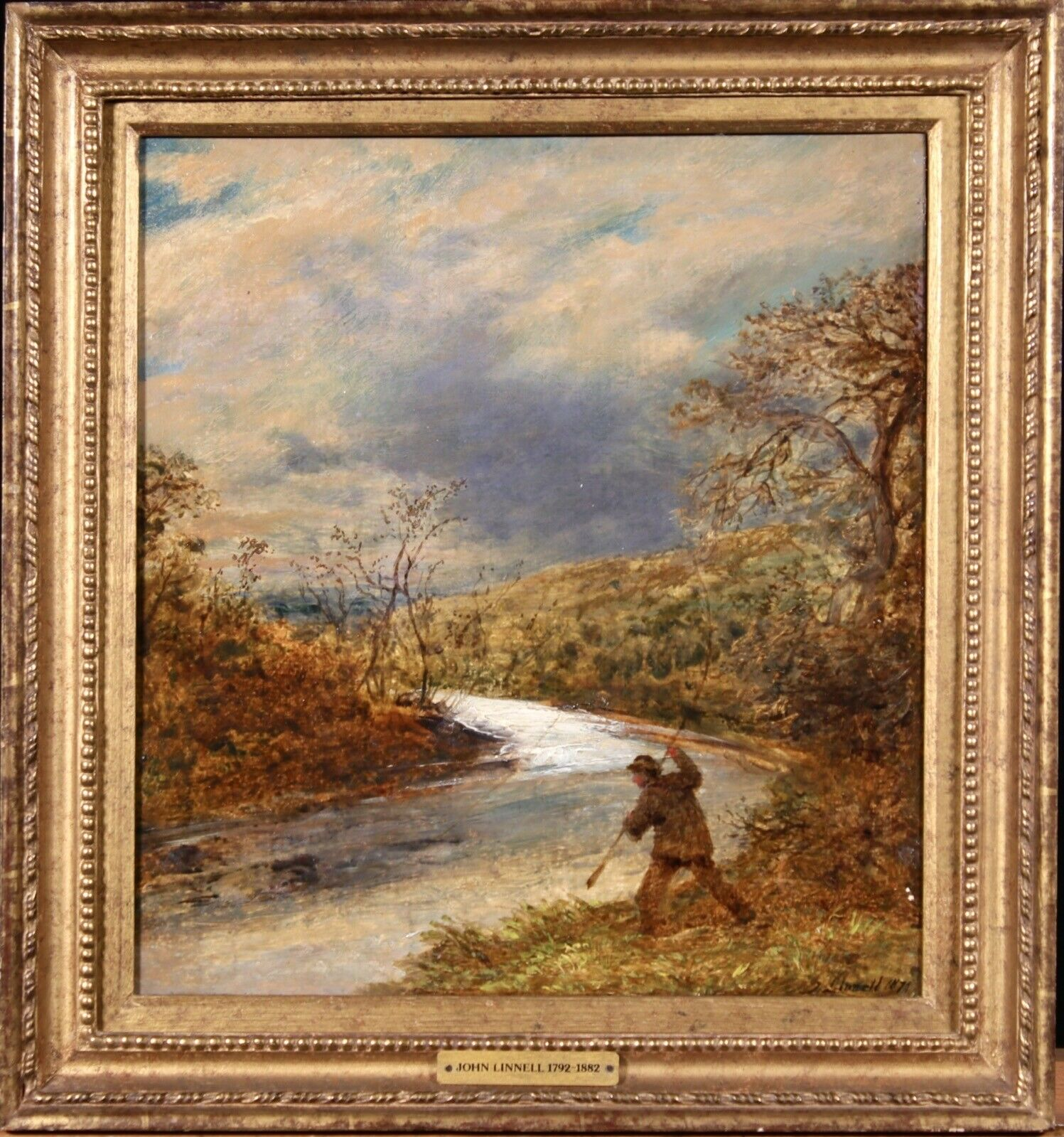 John Linnell (British 1792-1882): The Angler, oil on board signed and dated 1872, 34cm x 31cm - Image 2 of 2
