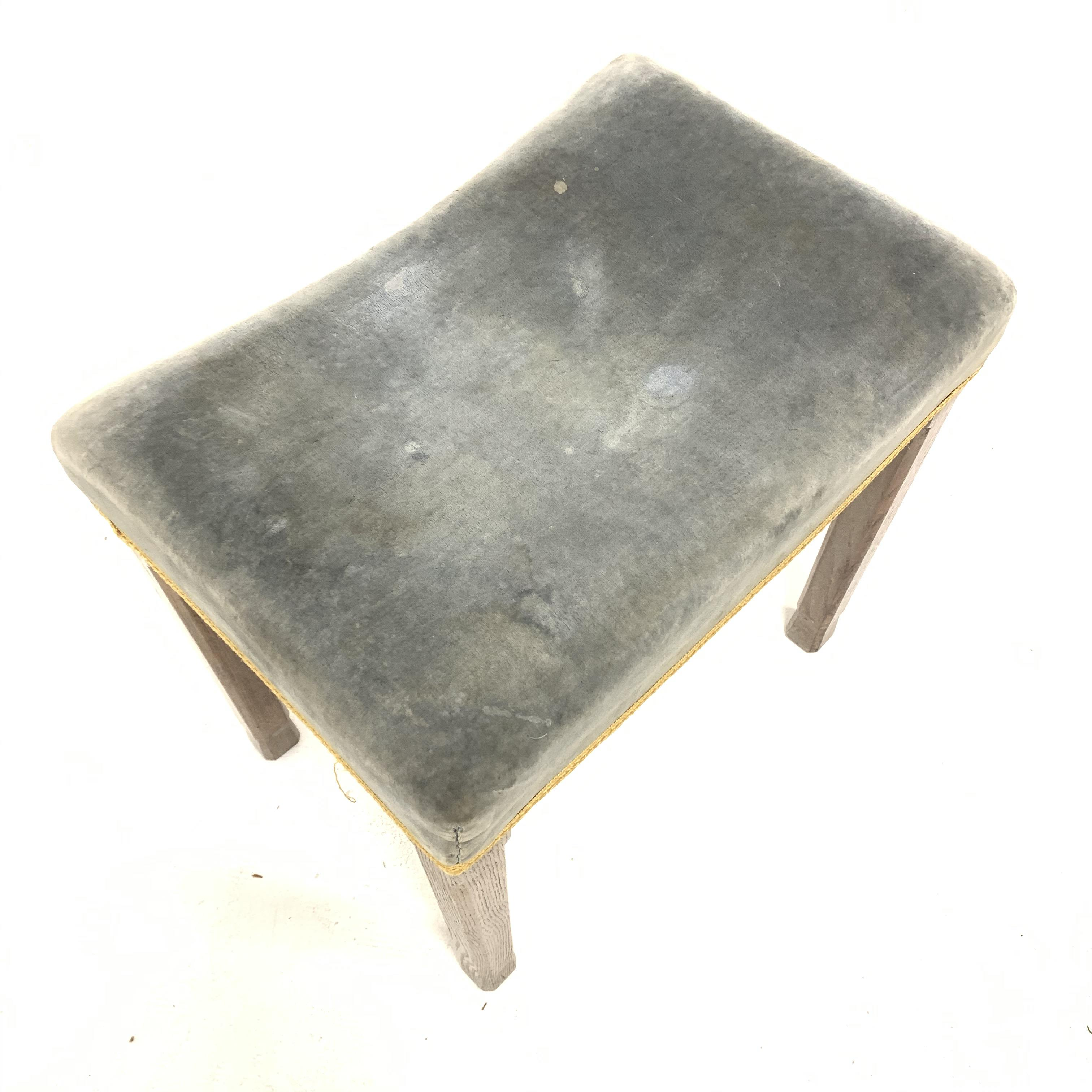 Elizabeth II limed oak Coronation stool with upholstered seat, stamp to the interior seat rail, with - Image 2 of 4