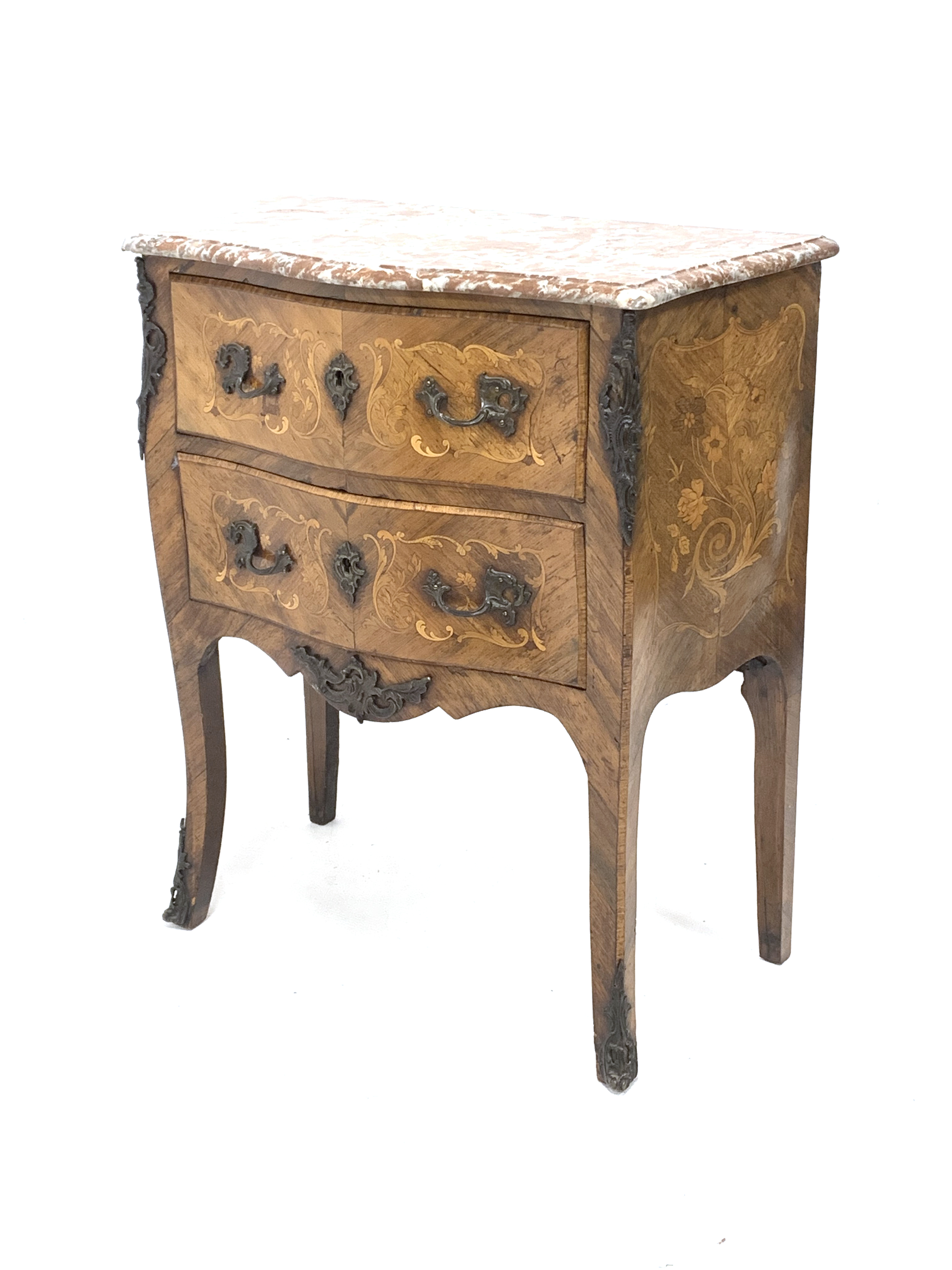 Early 20th century walnut and Kingwood bombe chest, shaped and moulded rouge marble top, two