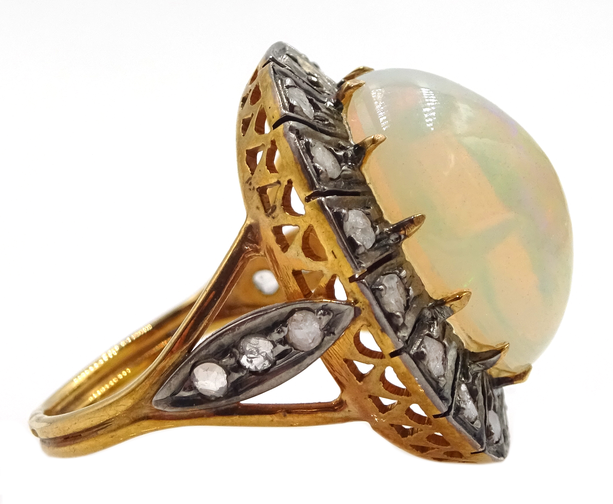14ct gold and silver cabochon Ethiopian opal and rose cit diamond ring, stamped 585 and 925 - Image 4 of 7