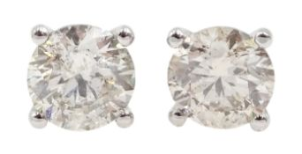 Pair of 18ct white gold brilliant cut diamond stud earrings, stamped 750, total diamond weight