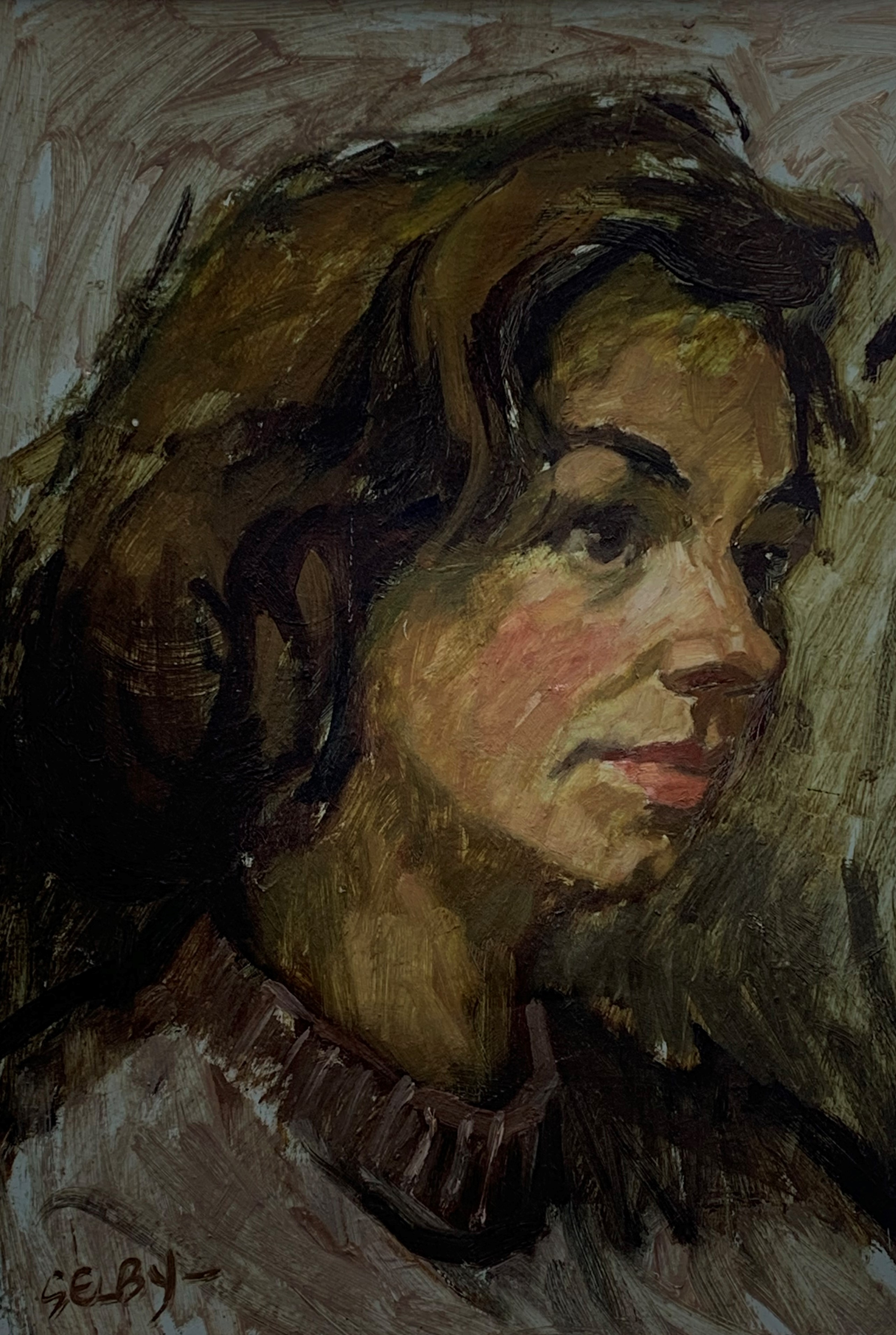 William Selby (British 1933-): Head and Shoulders Portrait of a Young Woman, oil on board signed
