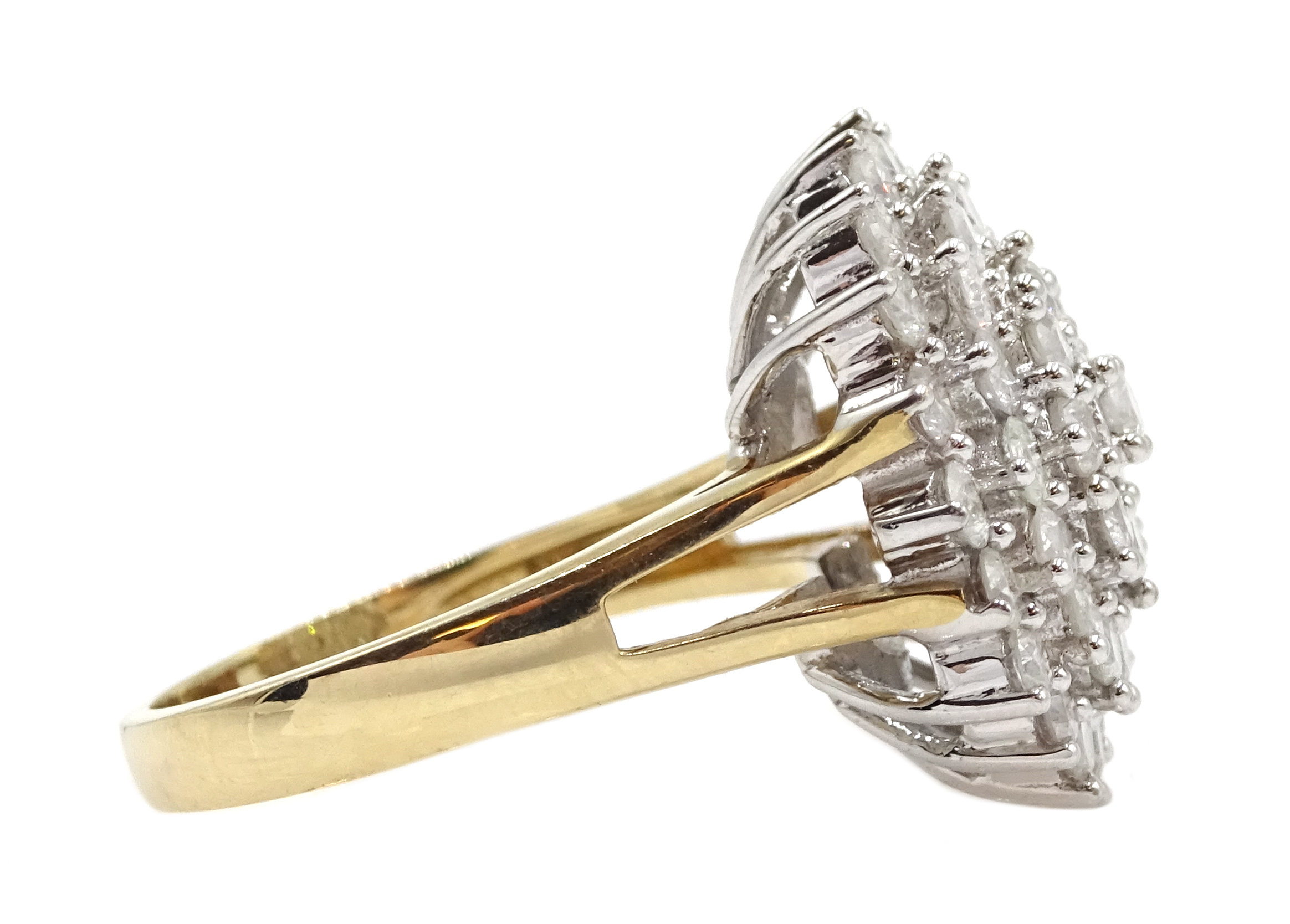 9ct gold cluster ring set with diamonds, diamond total weight approx 2.00 carat, free UK mainland - Image 4 of 6