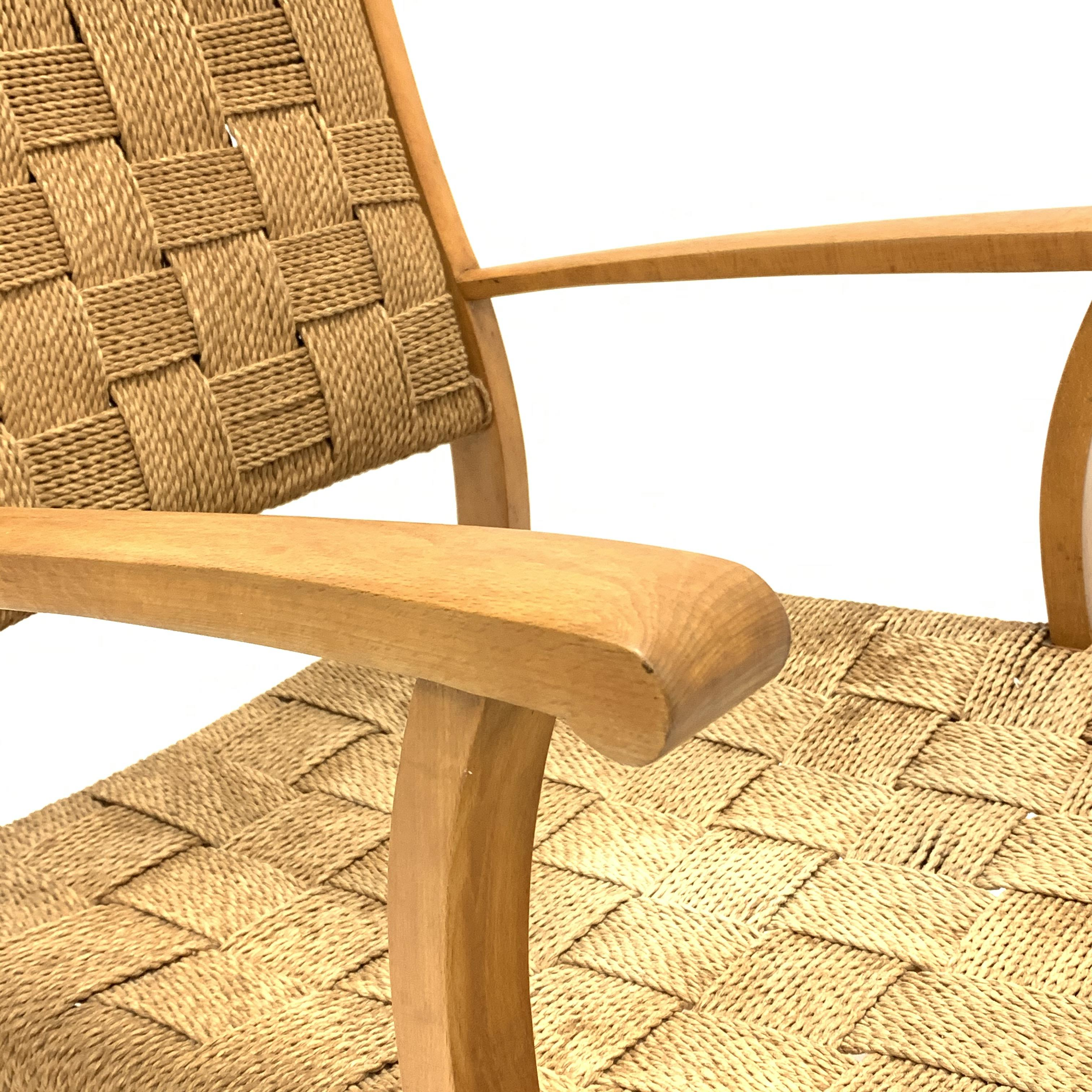 Attributed to Frits Schlegel - Danish beech and cord lounge chair, circa. 1940s, W60cm - Image 3 of 5