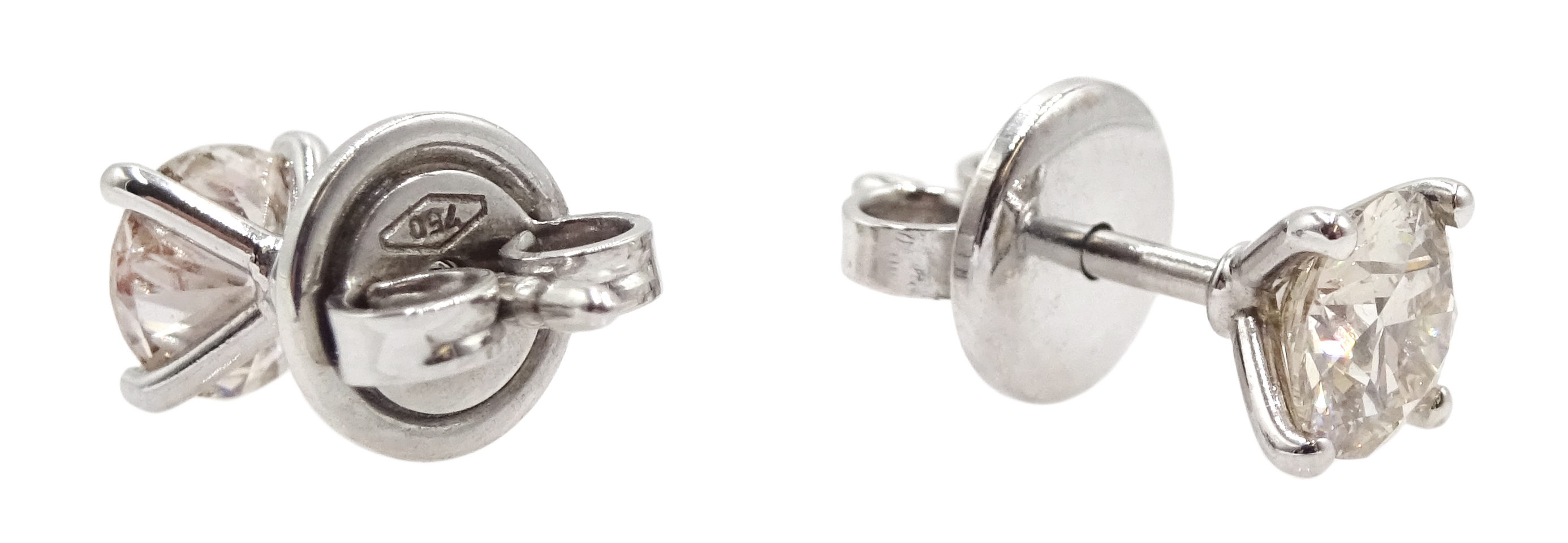 18ct white gold four claw solitaire diamond stud earrings, diamond total weight approx 1.00 carat, - Image 2 of 3
