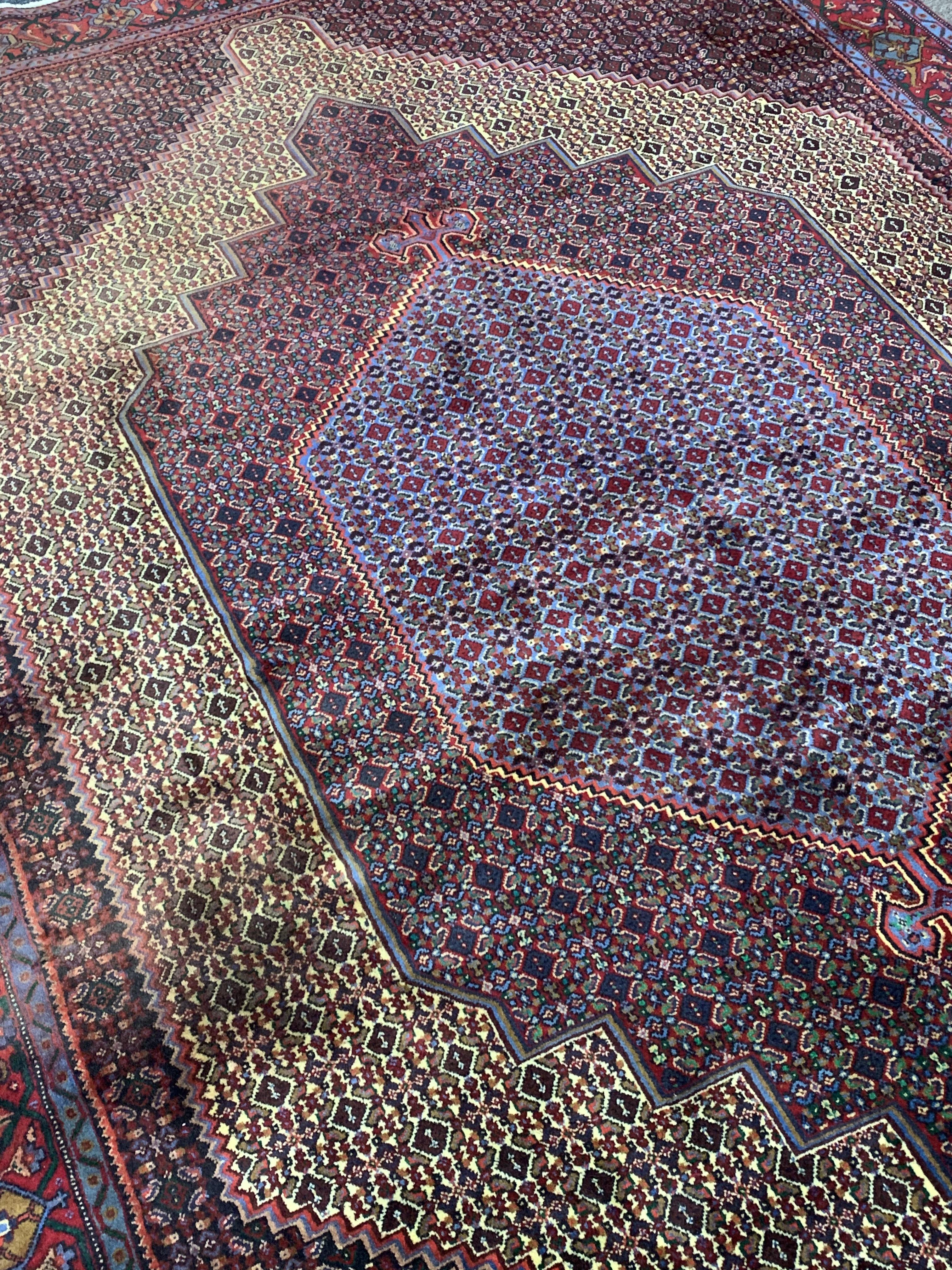Fine Persian Senneh rug, profusely decorated with Herati motifs, multiple lozenge fields, stylised - Image 4 of 4